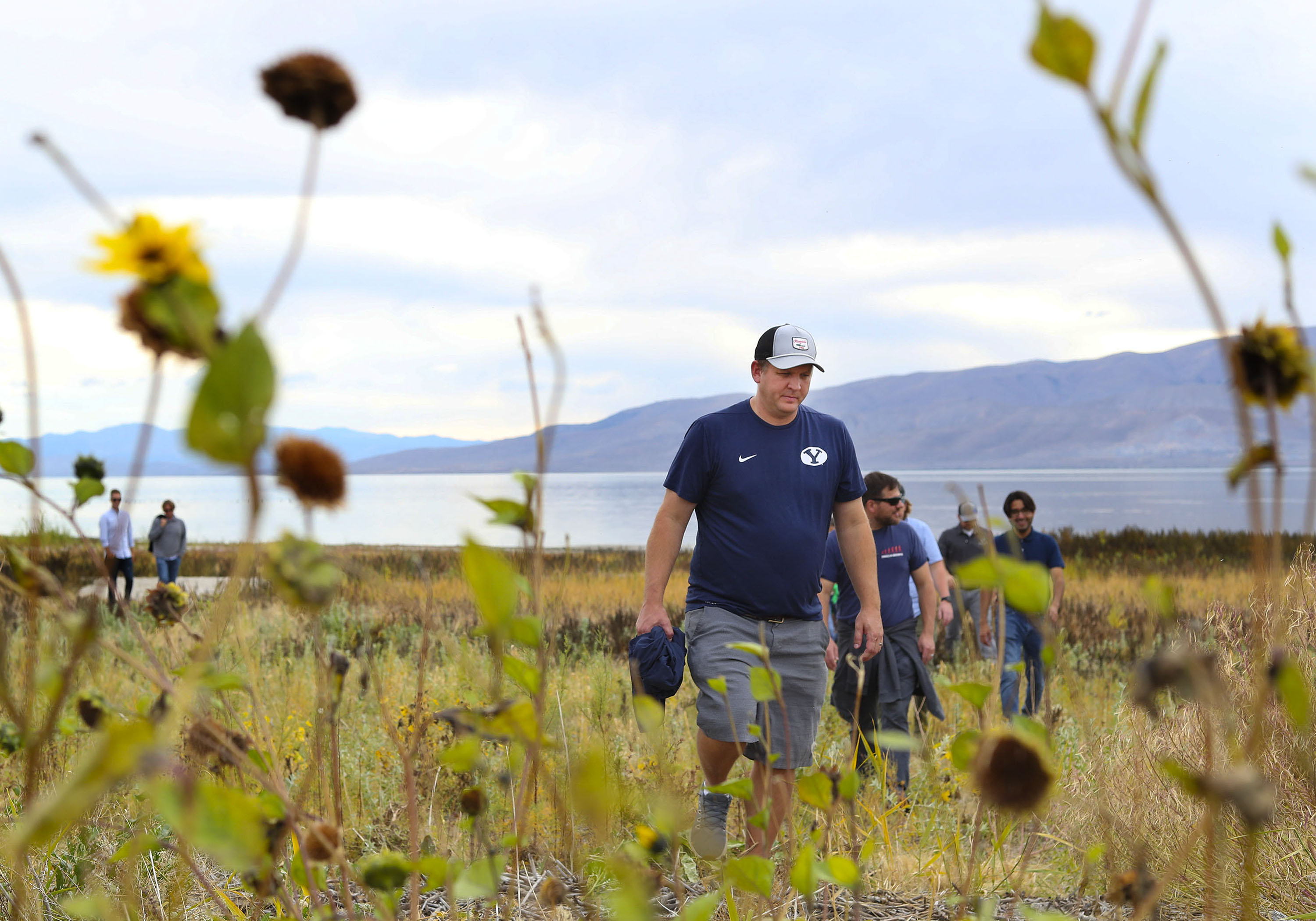 Jake Holdaway leads a tour of his property on the shore of Utah Lake in Vineyard on Thursday, Oct. 7, 2021.