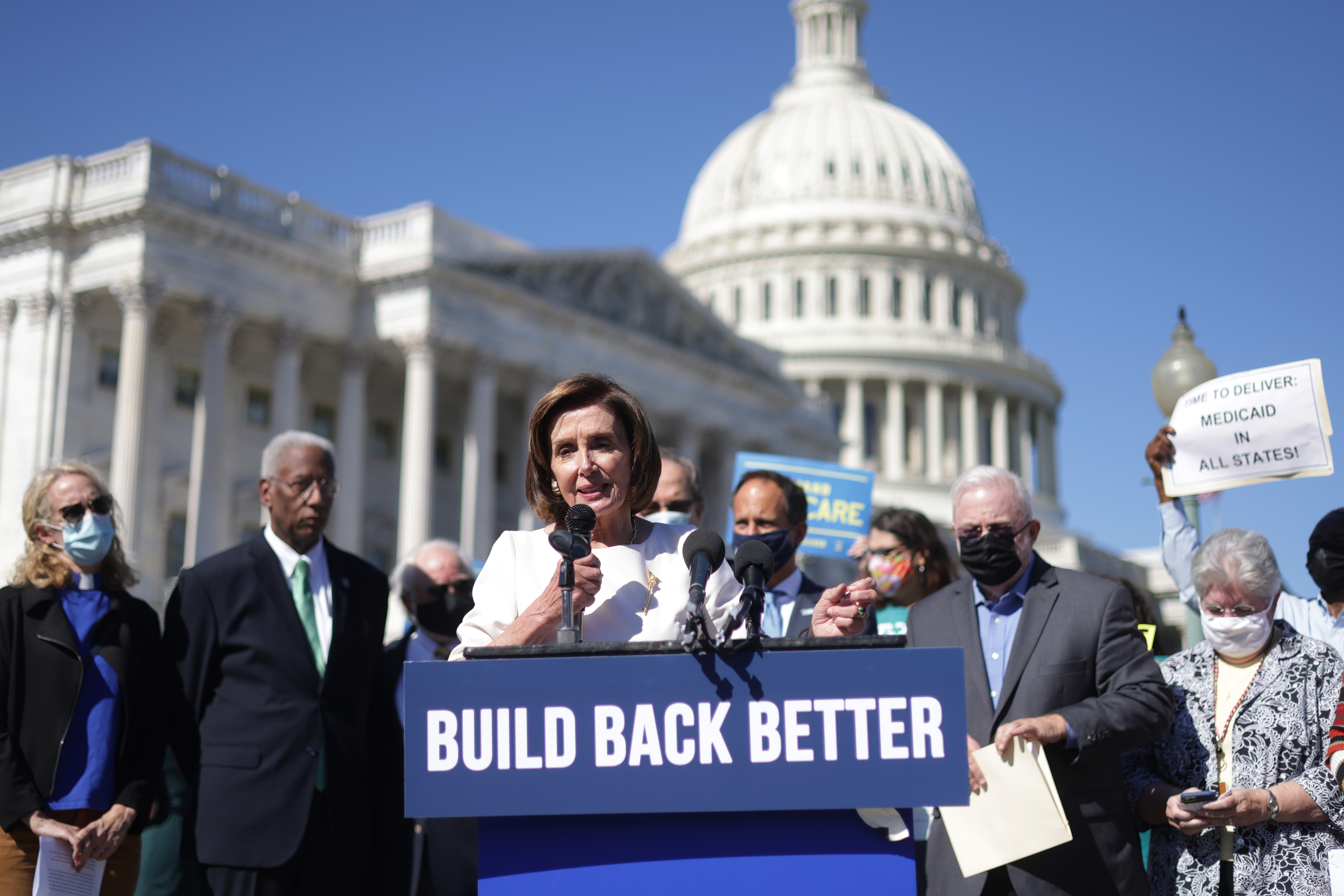 Speaker of the House Rep. Nancy Pelosi speaks as she joins religious leaders during a news conference outside the U.S. Capitol October 20, 2021 in Washington, DC.