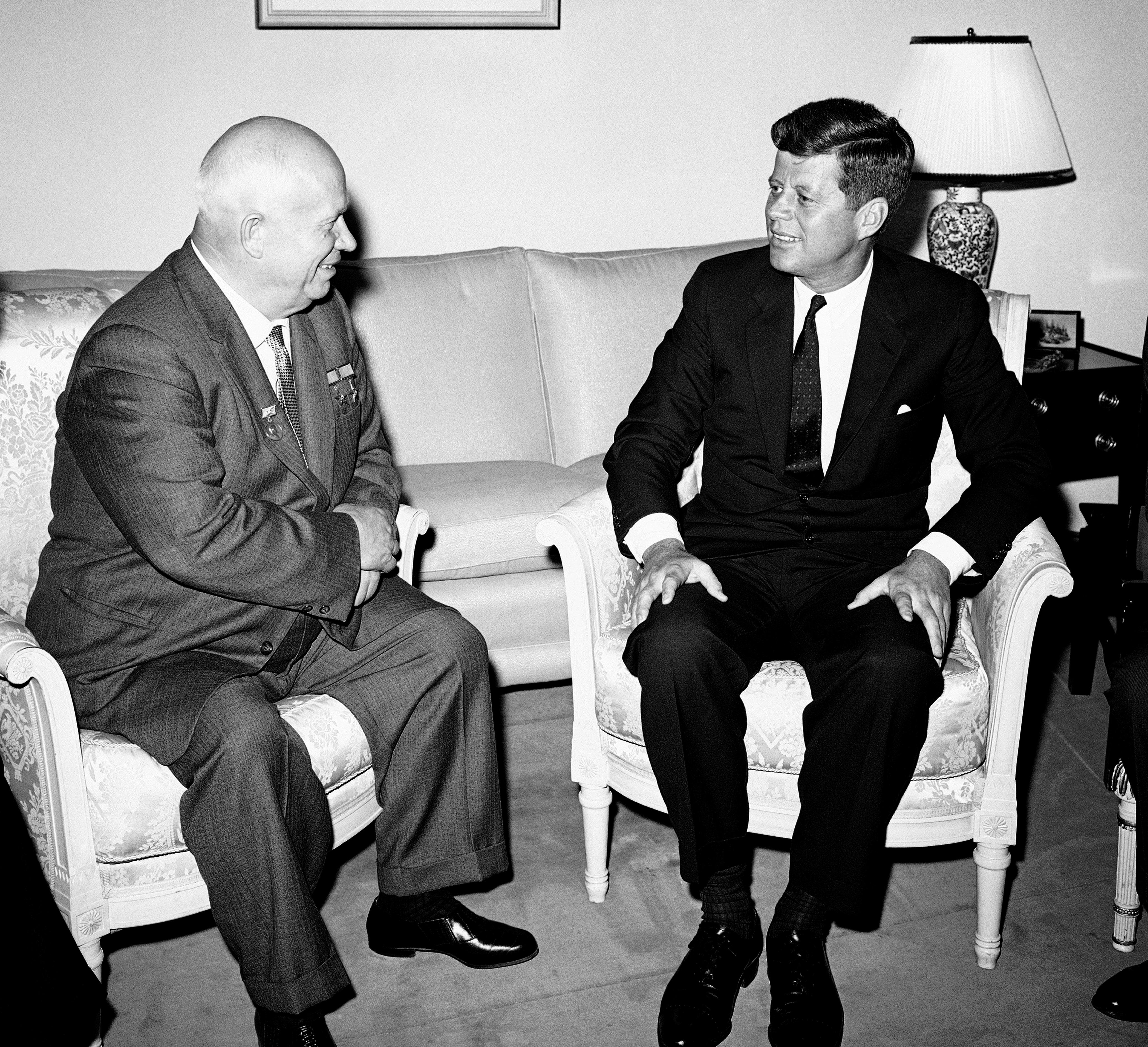 Soviet Premier Nikita Khrushchev and President John F. Kennedy talk in the residence of the U.S. Ambassador in a suburb of Vienna