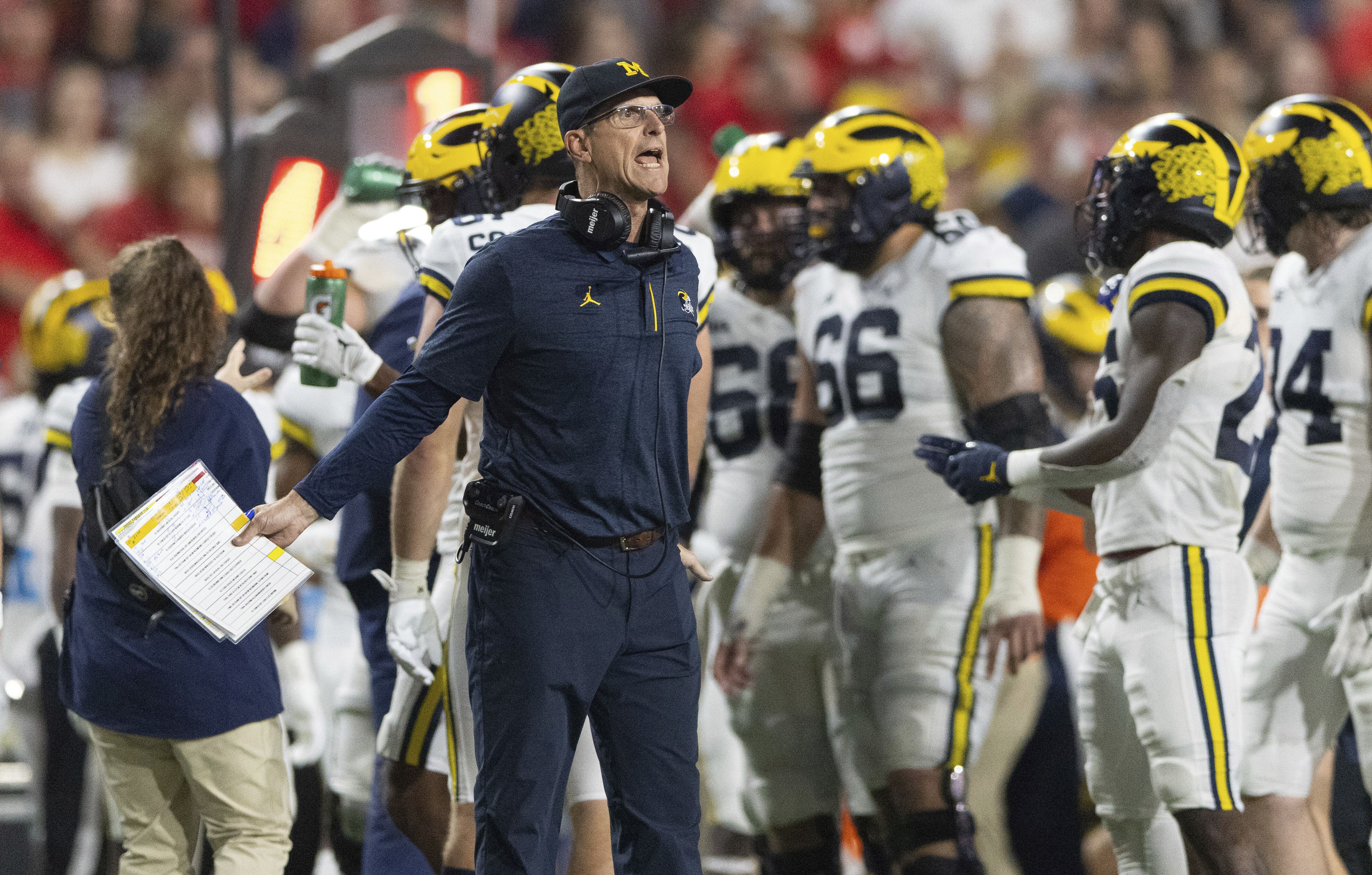"""""""The team has been very locked in. Daily, weekly,"""" Michigan coach Jim Harbaugh said. """"I think I've really continued to be pleased with how they attack every single day."""""""