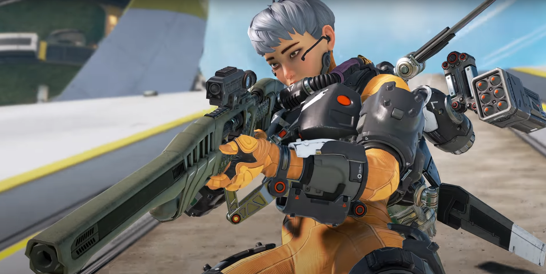 Valkyrie from Apex Legends sliding while firing a sniper rifle