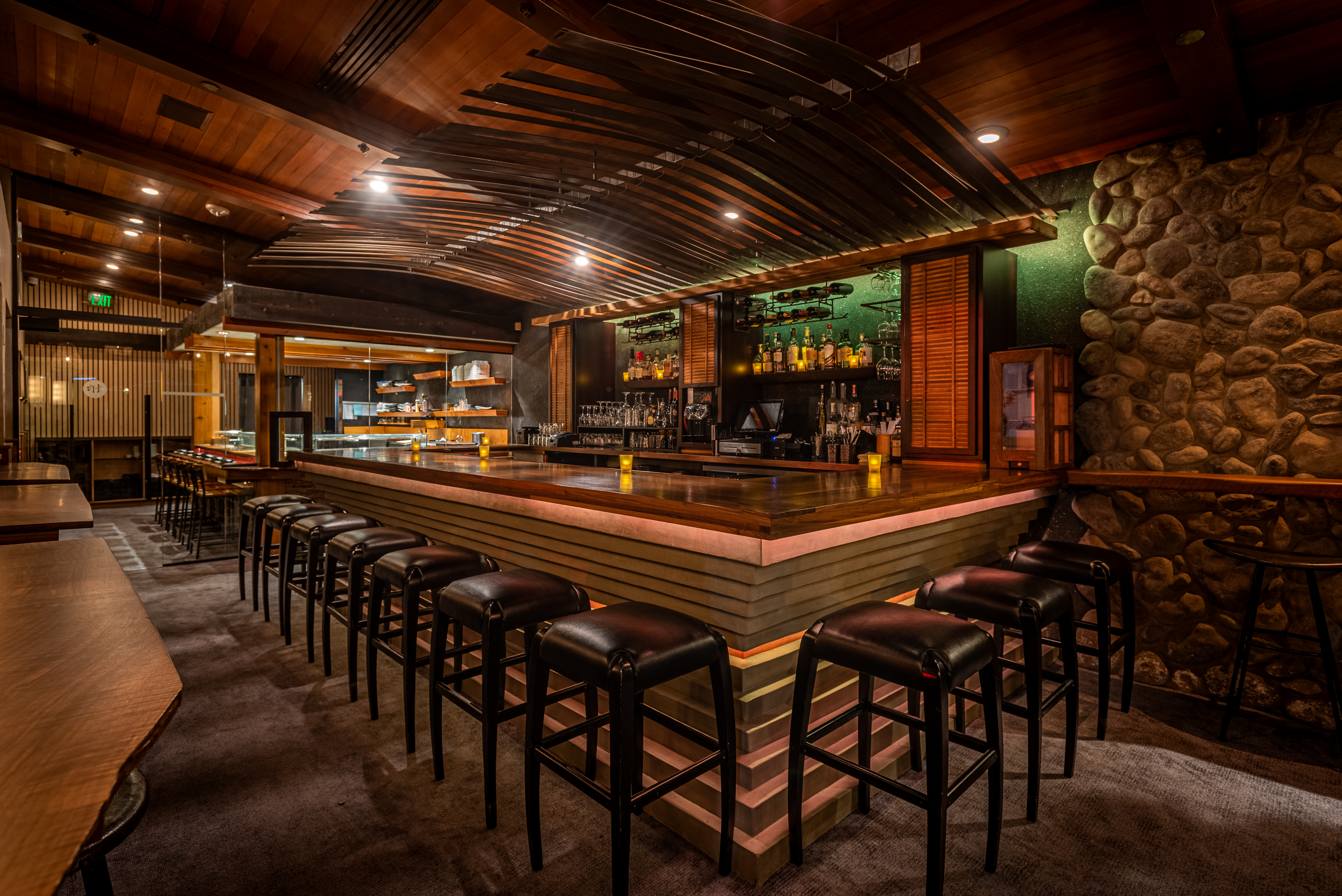 The dining area and bar at Sushi Roku Santa Monica
