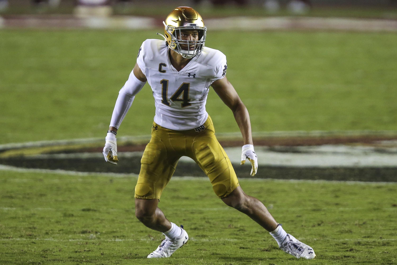 Notre Dame safety Kyle Hamilton has a team-high three interceptions this season.