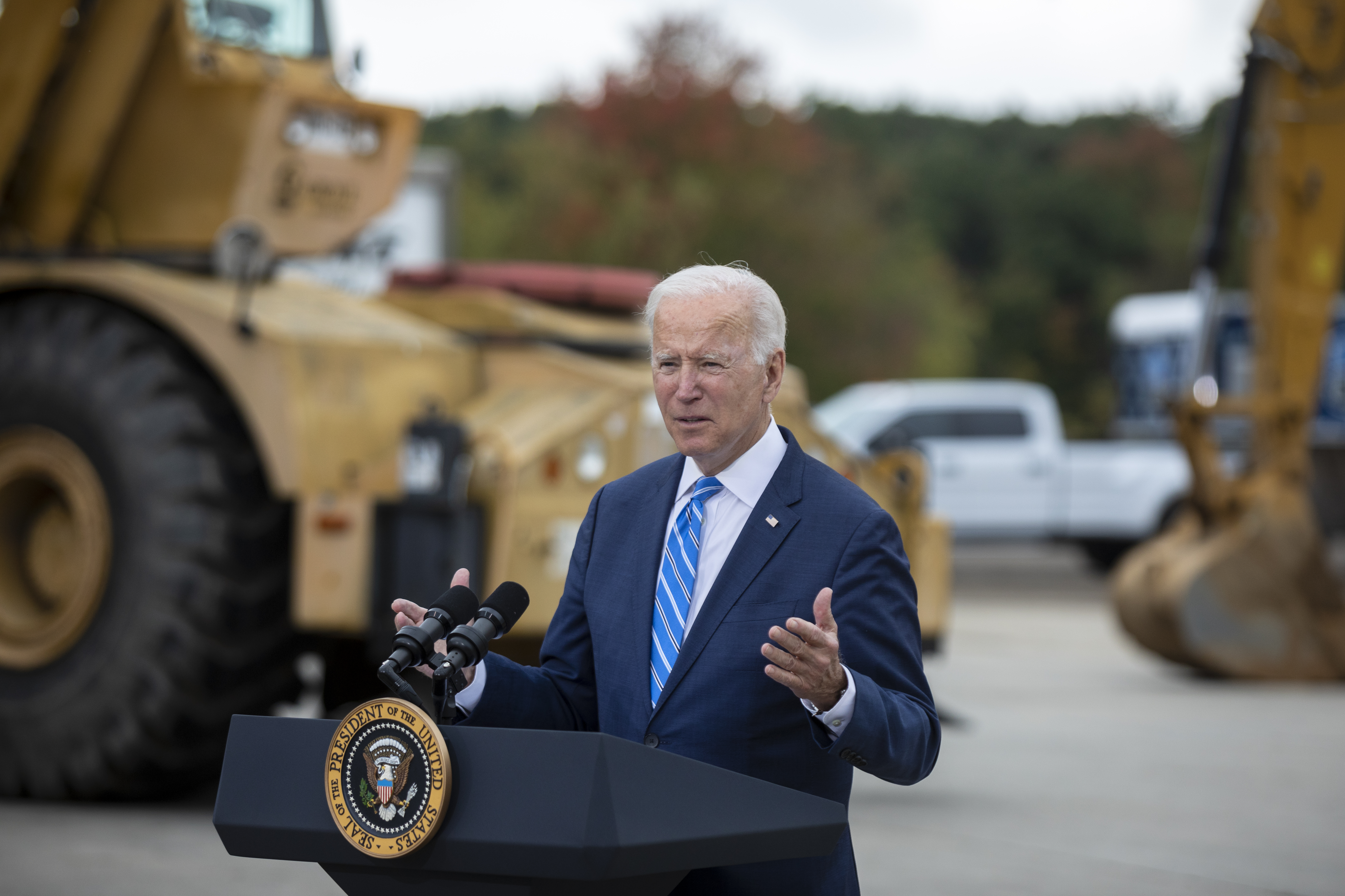 U.S. President Joe Biden speaks at the International Union of Operating Engineers Local 324 on October 5, 2021 in Howell, Michigan. Biden spoke about his infrastructure bill and the Build Back Better plan.