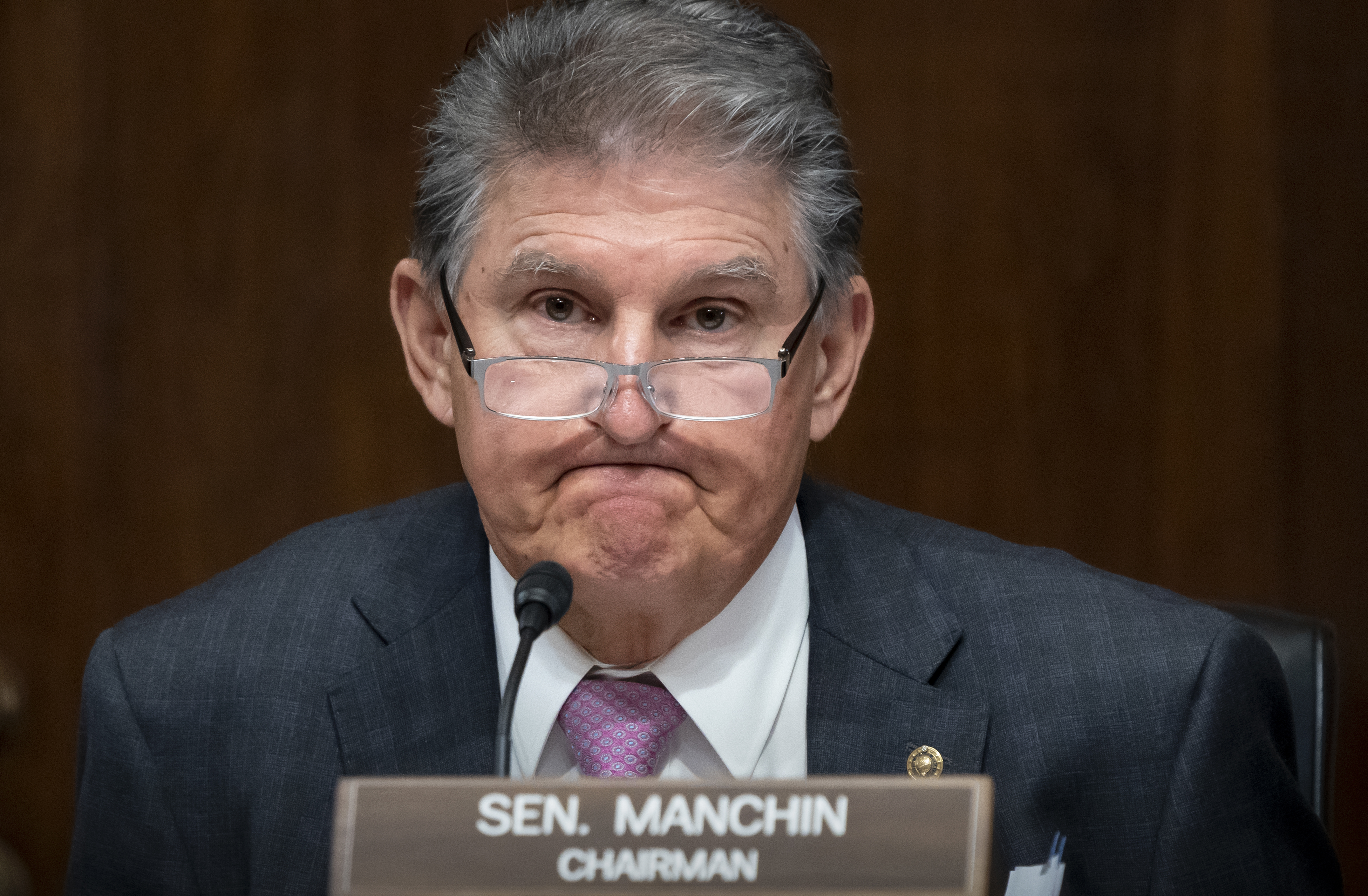 Sen. Joe Manchin, D-W.Va., chairs a hearing of the Senate Energy and Natural Resources Committee.