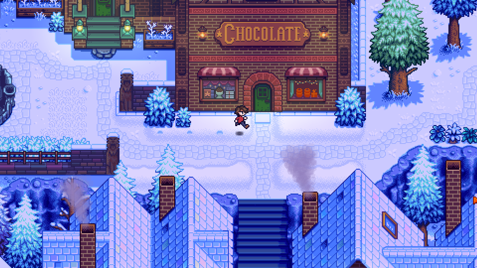 a character running in front of a chocolate factory