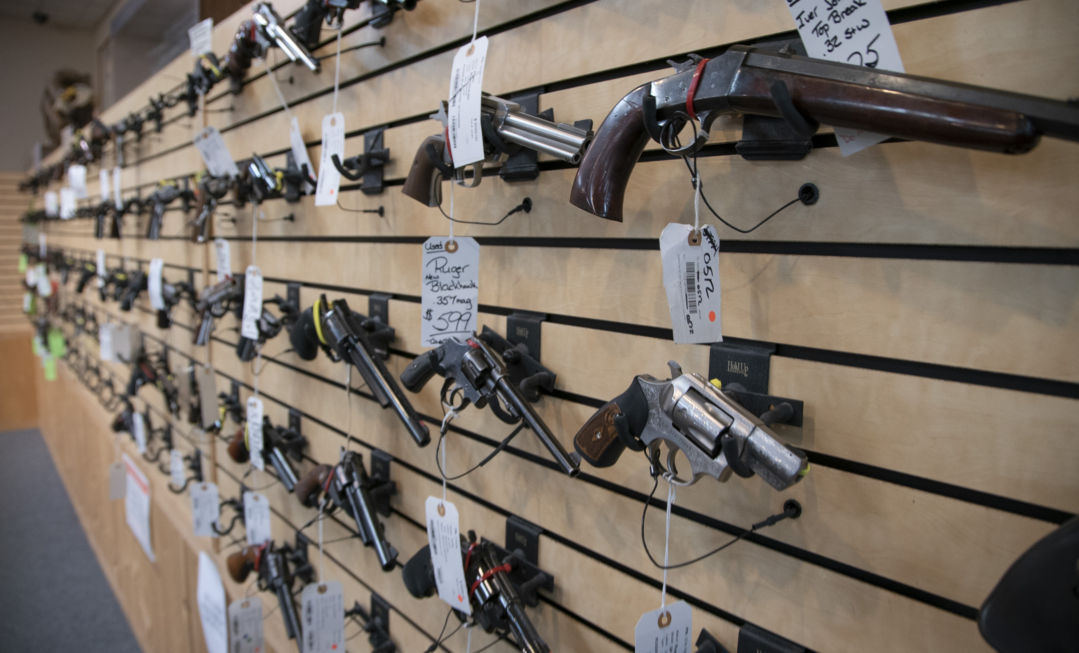Firearms on display at at Marengo Guns in Marengo in January.