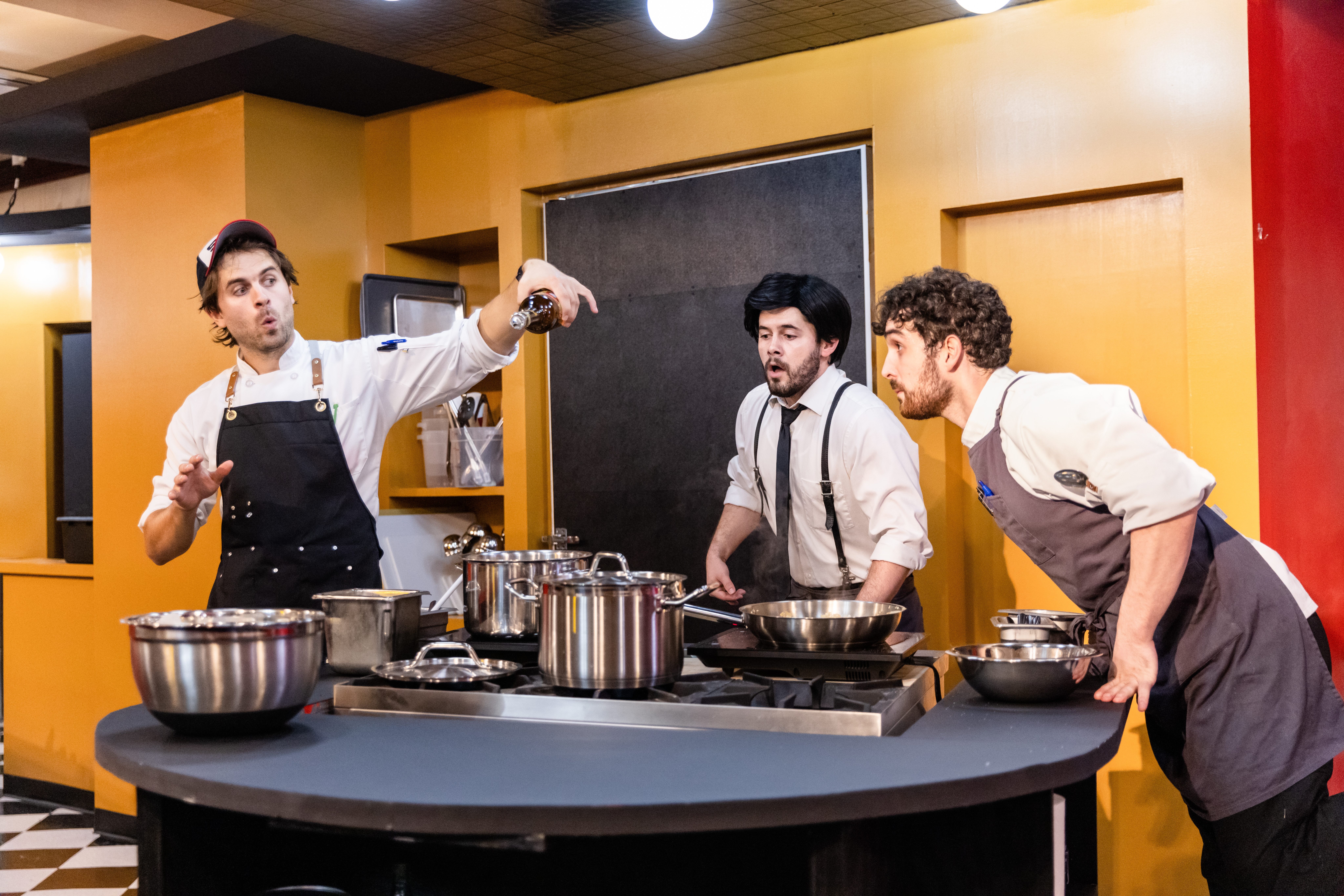 """Ben Page, (from left as Jude), Ian Maryfield (as Boris) and Alex Morales (as Iggy) are among the cast of """"Recipe for Disaster."""""""