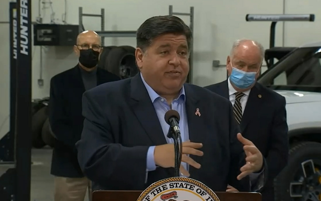 Gov. J.B. Pritzker discusses a new electric vehicle energy storage training program at Heartland Community College on Thursday.