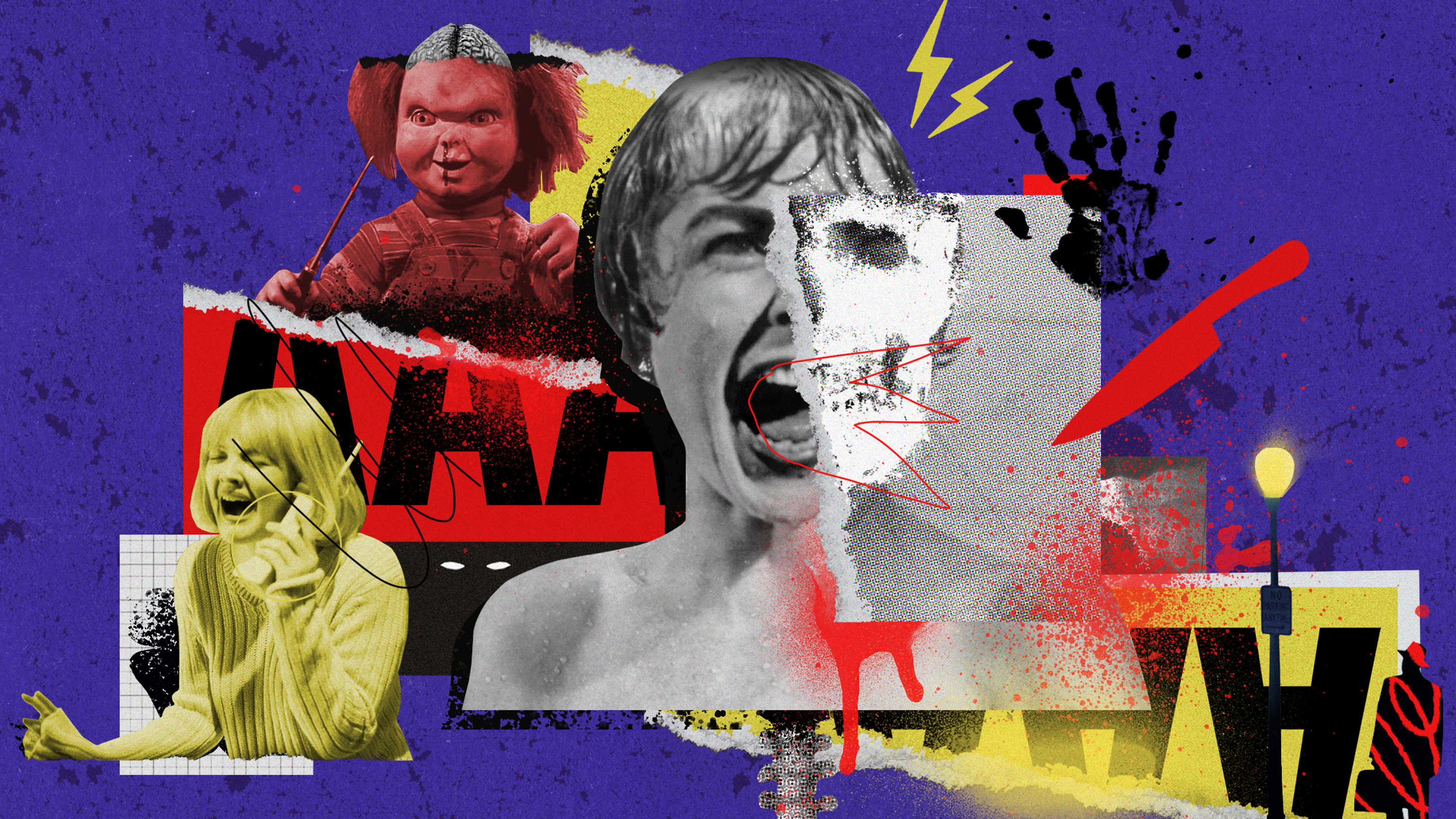 Collage featuring images from the movies Psycho, Scream and Chucky