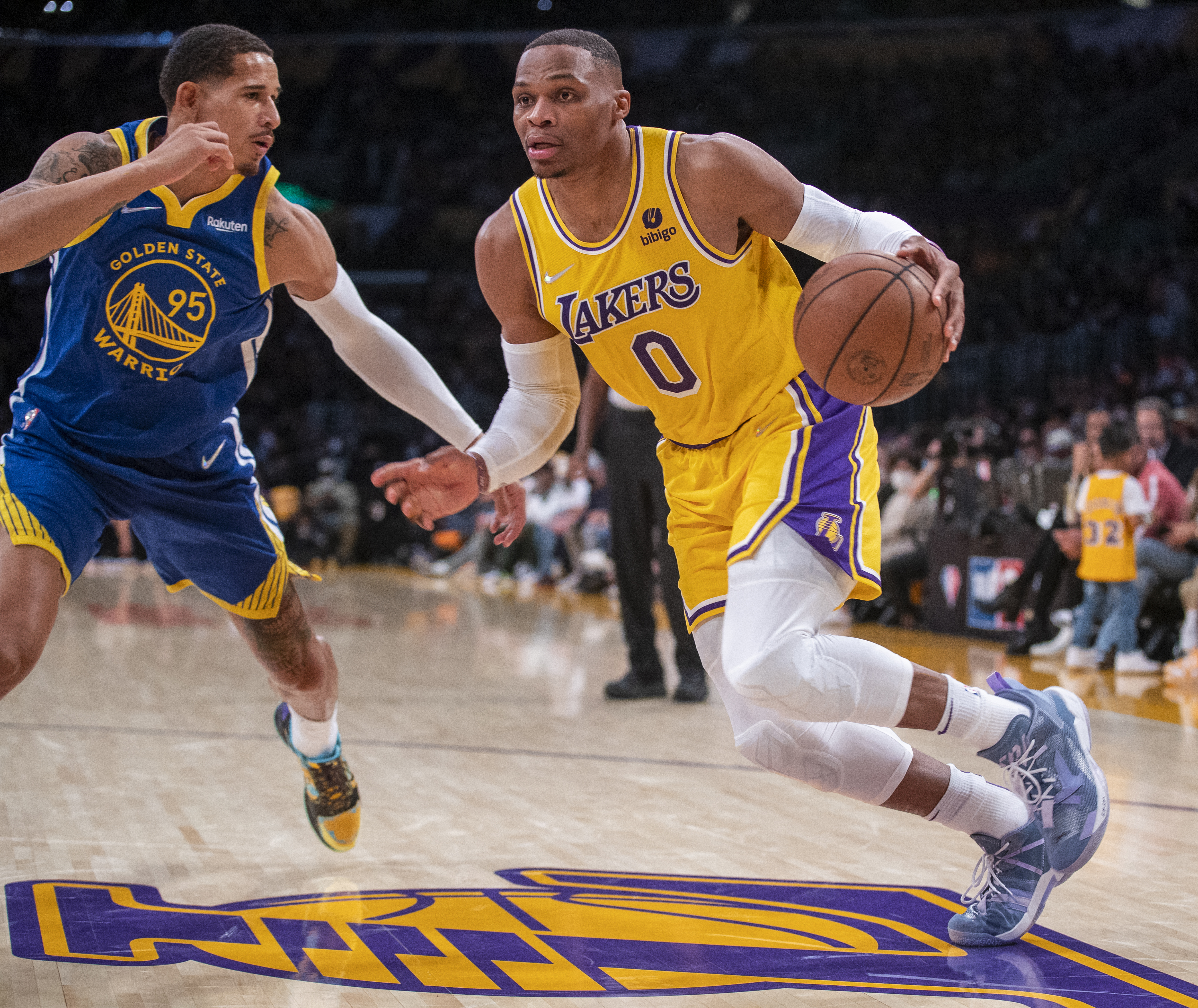 The Los Angeles Lakers play the Golden State Warriors during the season opener