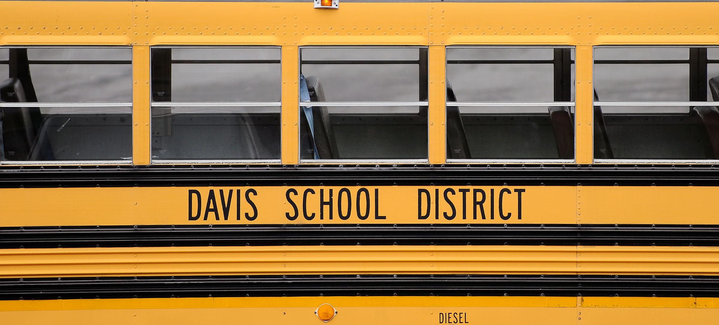 Davis County school buses sit at the Bus Farm in Farmington.
