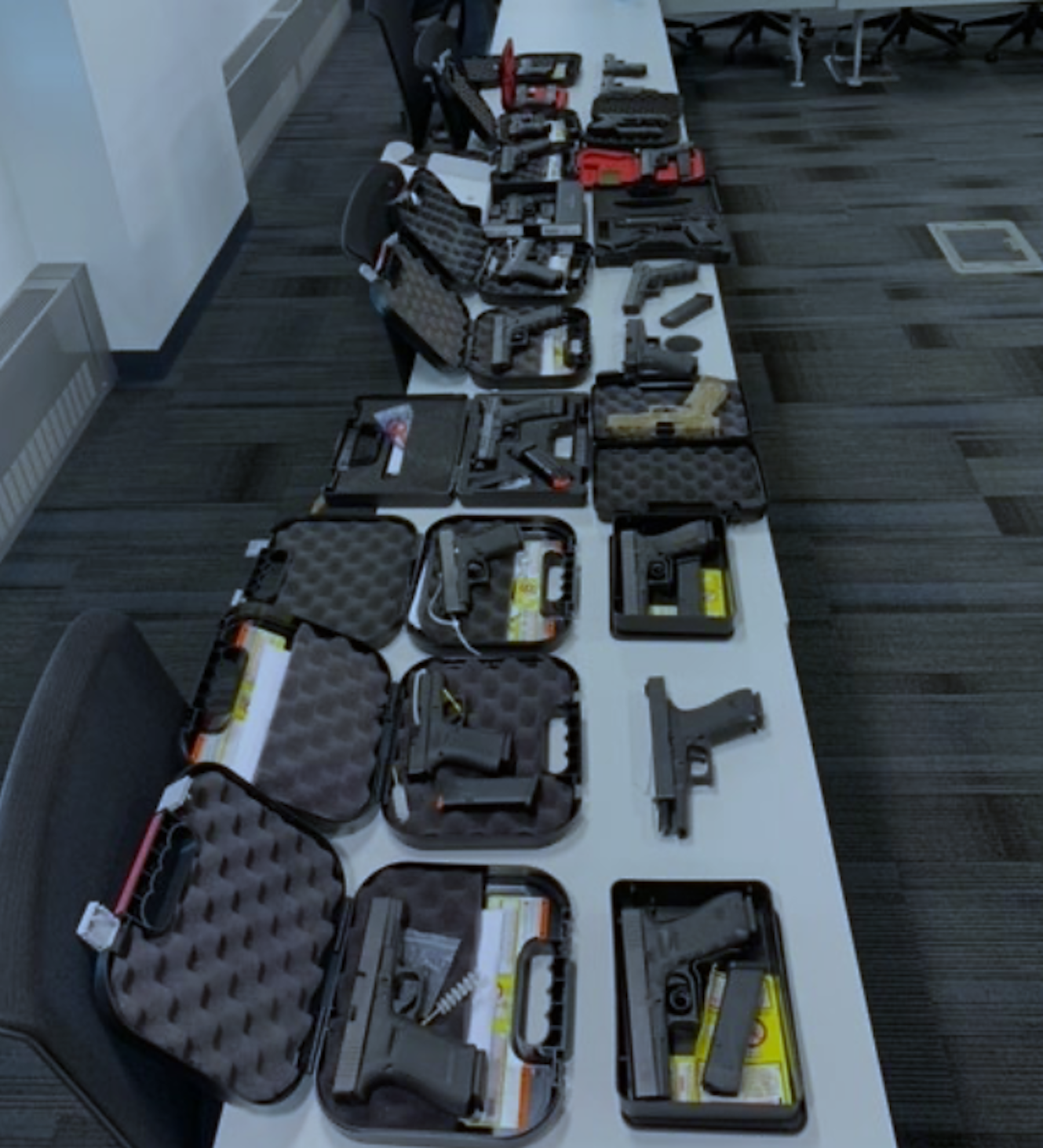 Jerome Boykin, 30, of St. Louis, is accused of trying to sell these 22 guns in exchange for what he thought was 6 pounds of marijuana on Oct. 8 in the Chicago area, according to federal authorities.