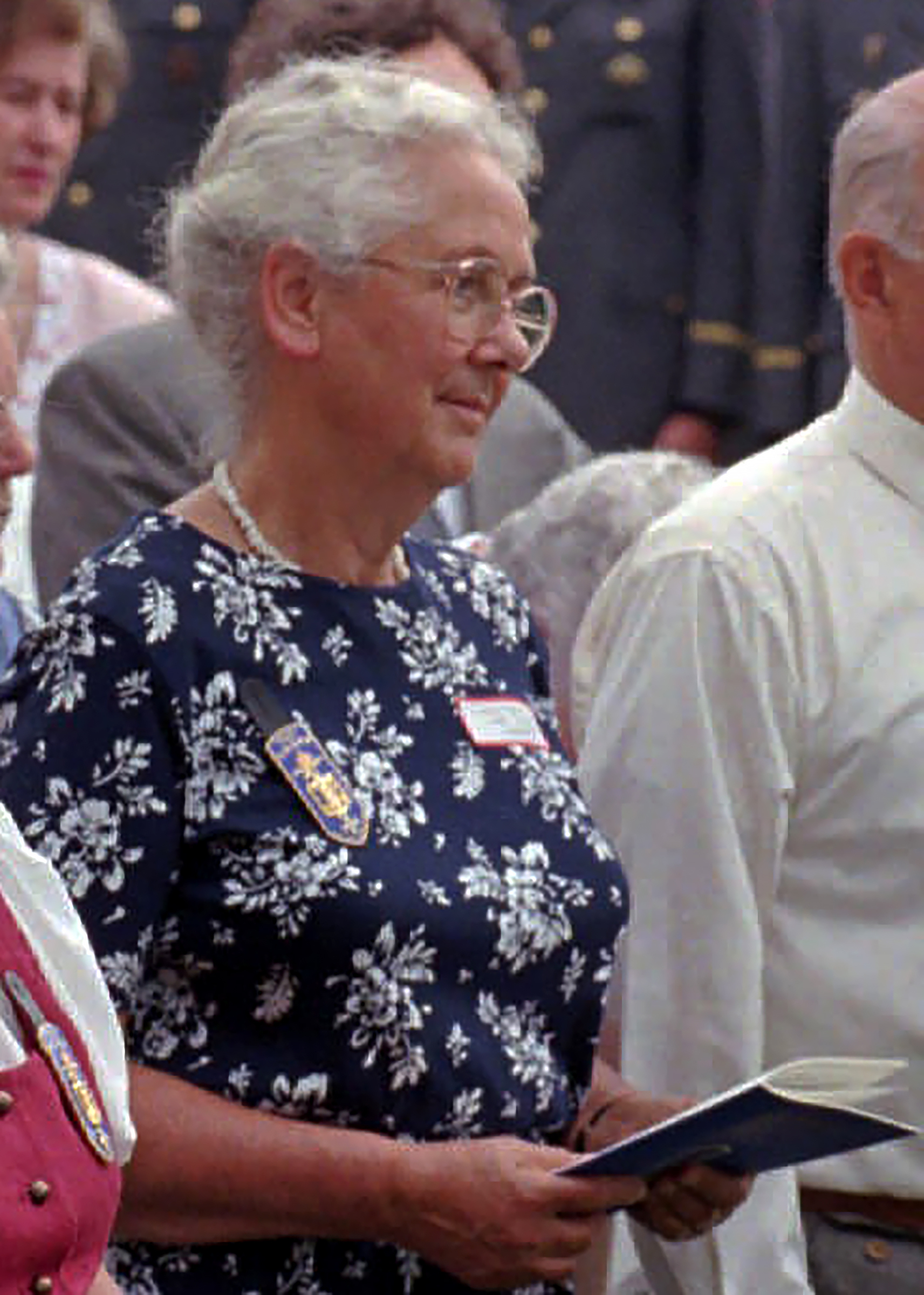 In this July 13, 1997 file photo, Lorli von Trapp Campbell attends a mass honoring her father, in Stowe, Vermont. A funeral home confirmed Lorli von Trapp Campbell died Sunday, Oct. 17, 2021, in Northfield, Vermont.