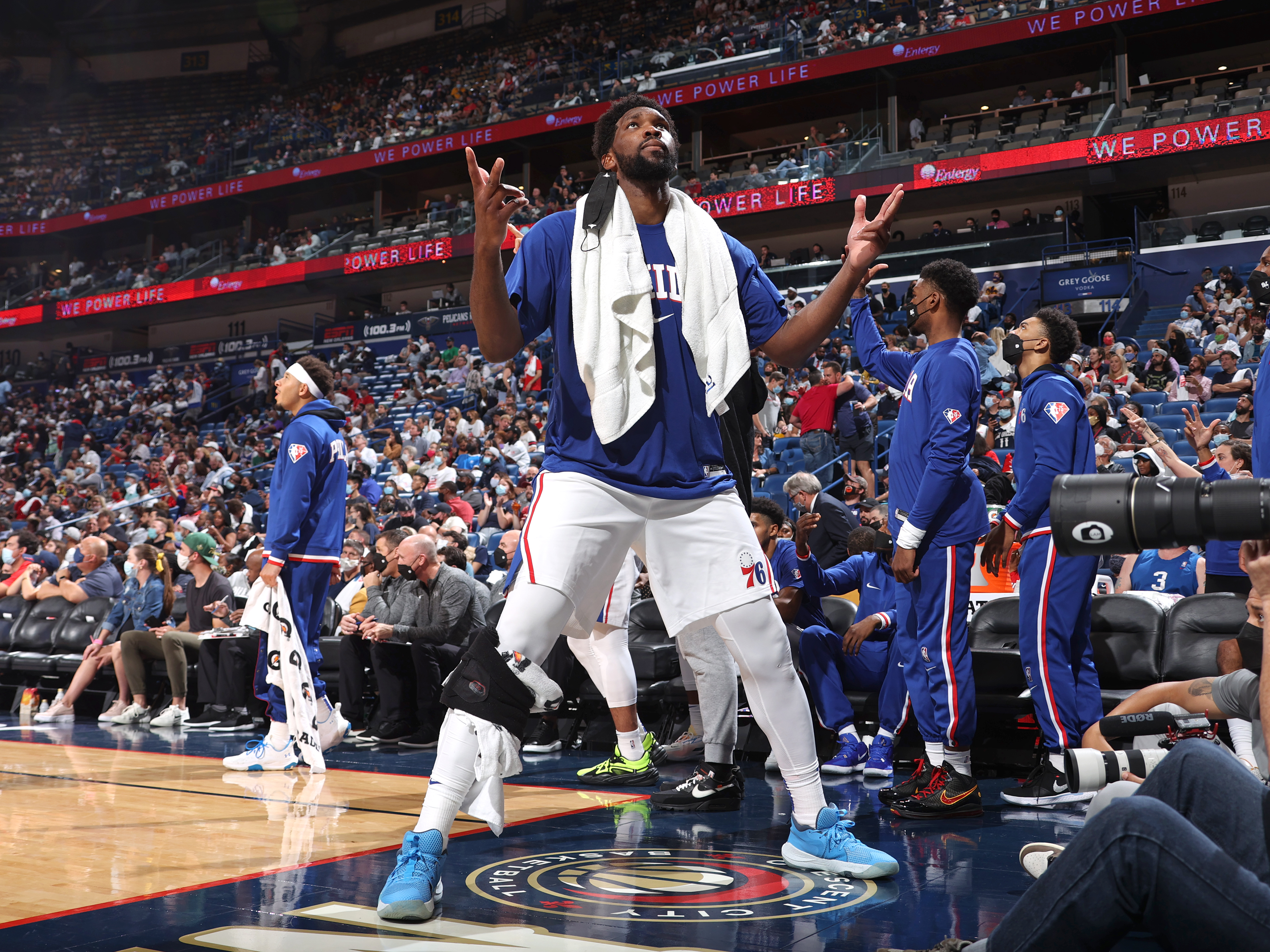 Joel Embiid #21 of the Philadelphia 76ers celebrates during the game against the New Orleans Pelicans on October 20, 2021 at the Smoothie King Center in New Orleans, Louisiana.