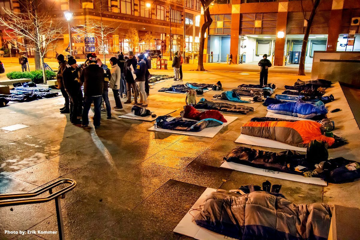 Sleep Out Chicago participants pitched their sleeping bags outside St. James Cathedral in 2019 in support of homeless youth. This will be the event's fifth year.