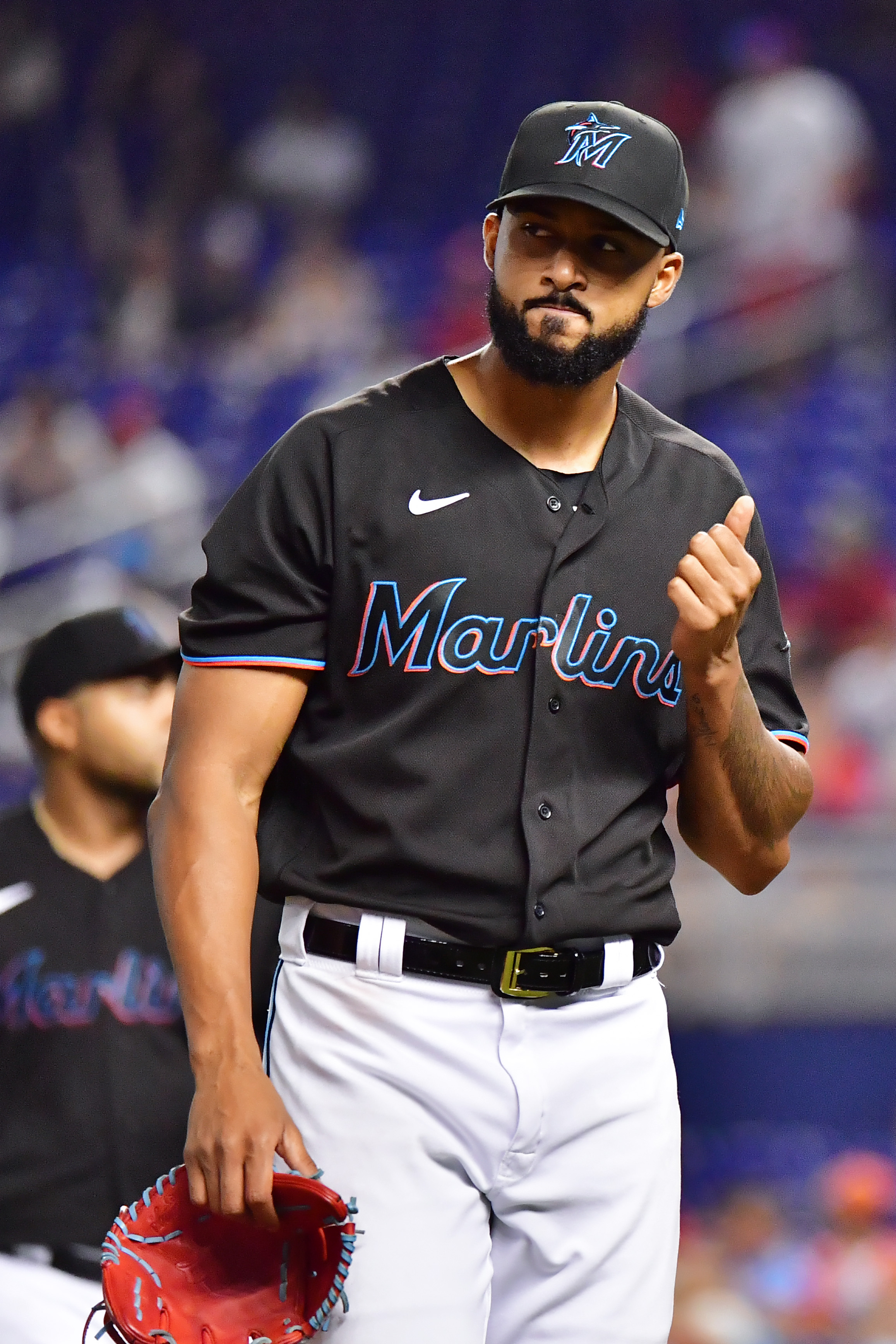Sandy Alcantara #22 of the Miami Marlins reacts after the seventh inning against the Cincinnati Reds at loanDepot park