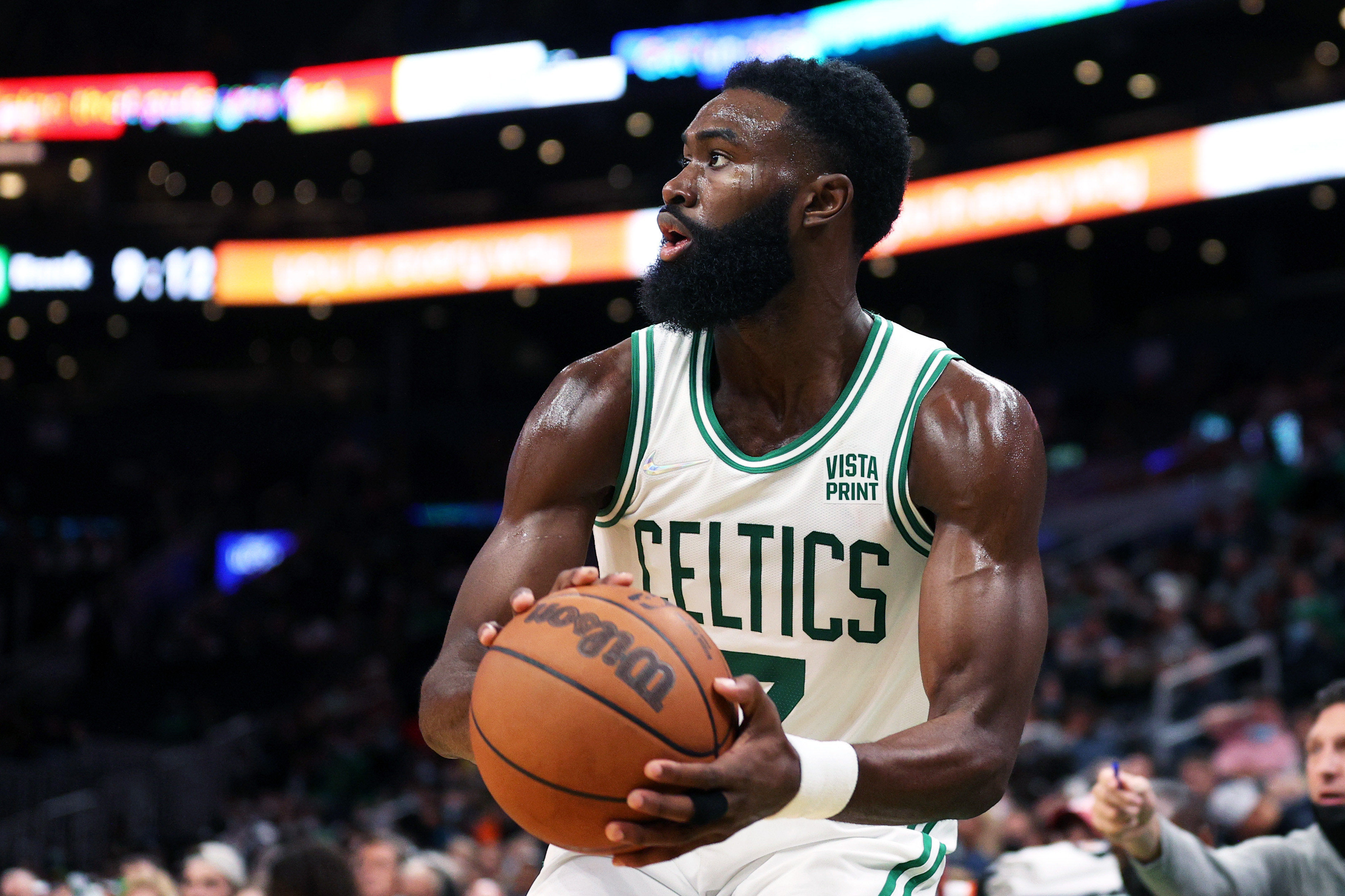Jaylen Brown #7 of the Boston Celtics looks for a shot against the Orlando Magic during the second half of the preseason game at TD Garden on October 04, 2021 in Boston, Massachusetts.
