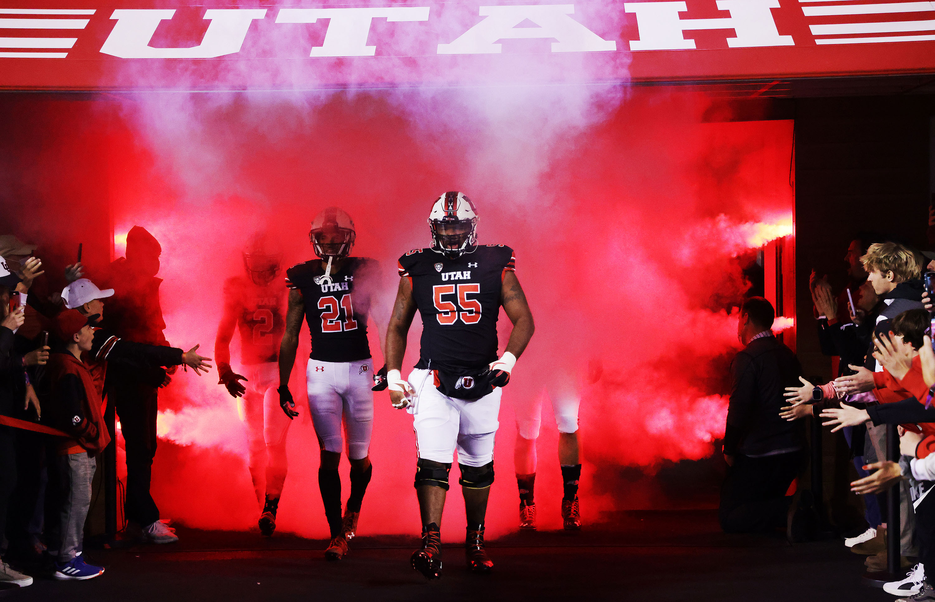 The Utah Utes take the field for their game against the Arizona State Sun Devils in Salt Lake City Saturday, Oct. 16, 2021.