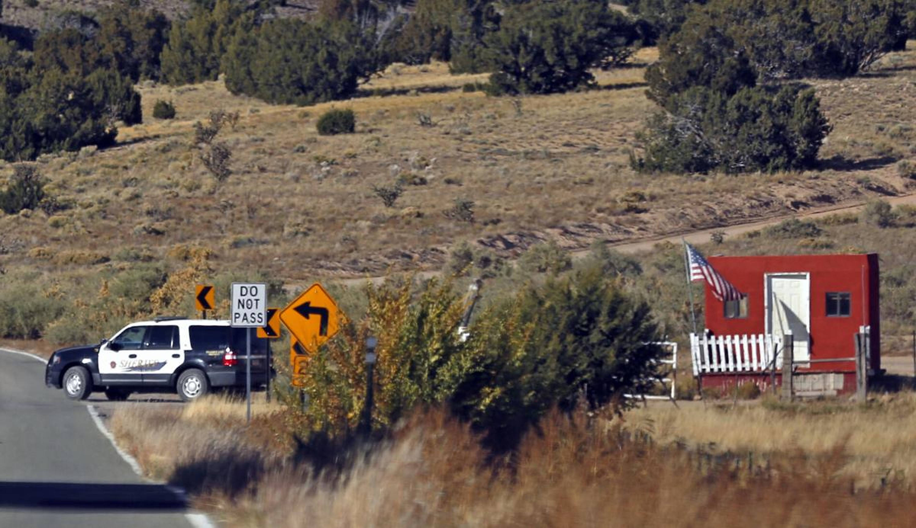 Santa Fe County Sheriff's officers respond to the scene of a fatal accidental shooting at a Bonanza Creek Ranch movie set.
