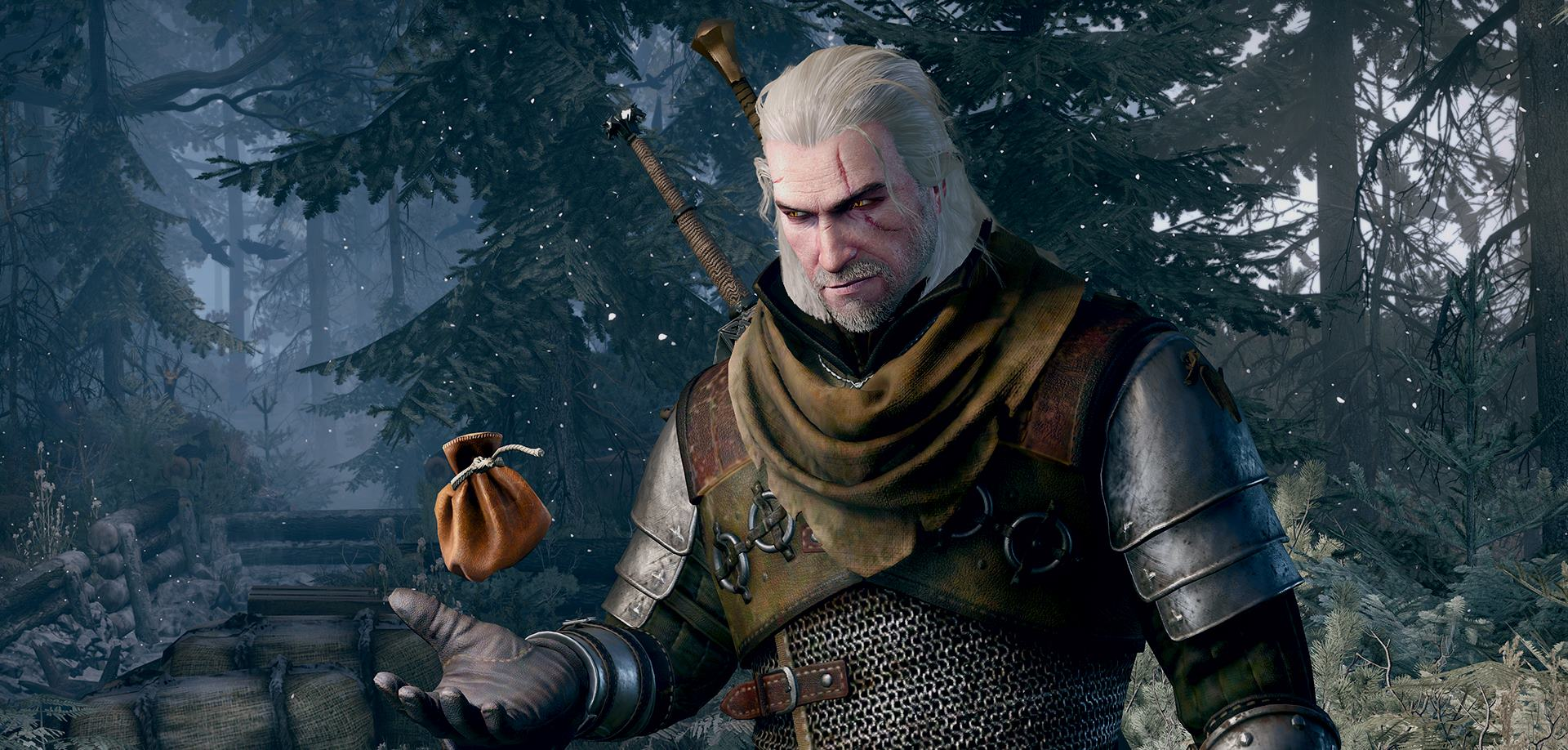 Geralt of Rivia in The Witcher 3: Wild Hunt stands staring at a bag of coins in his hand