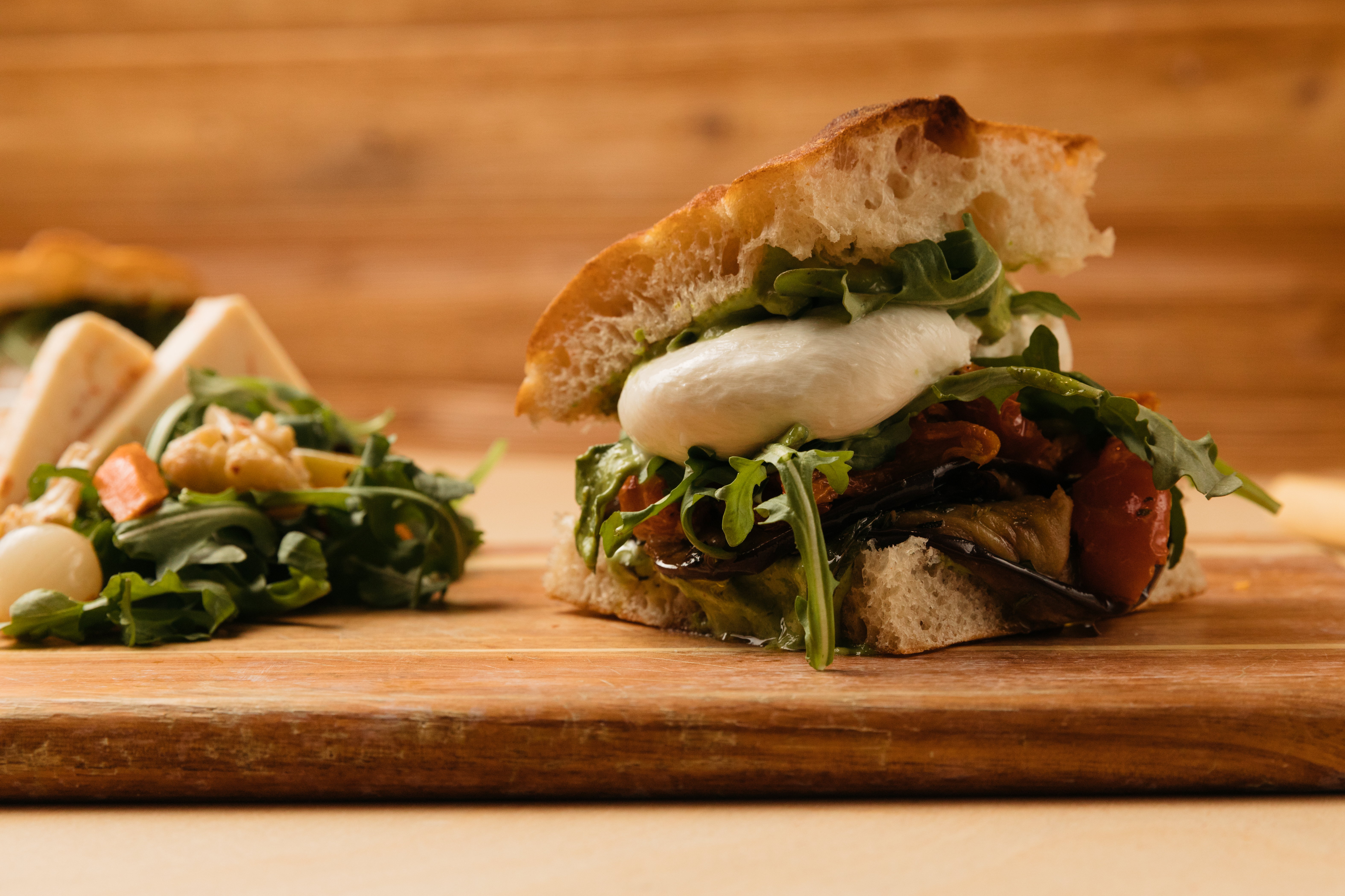 focaccia sandwich with cheese