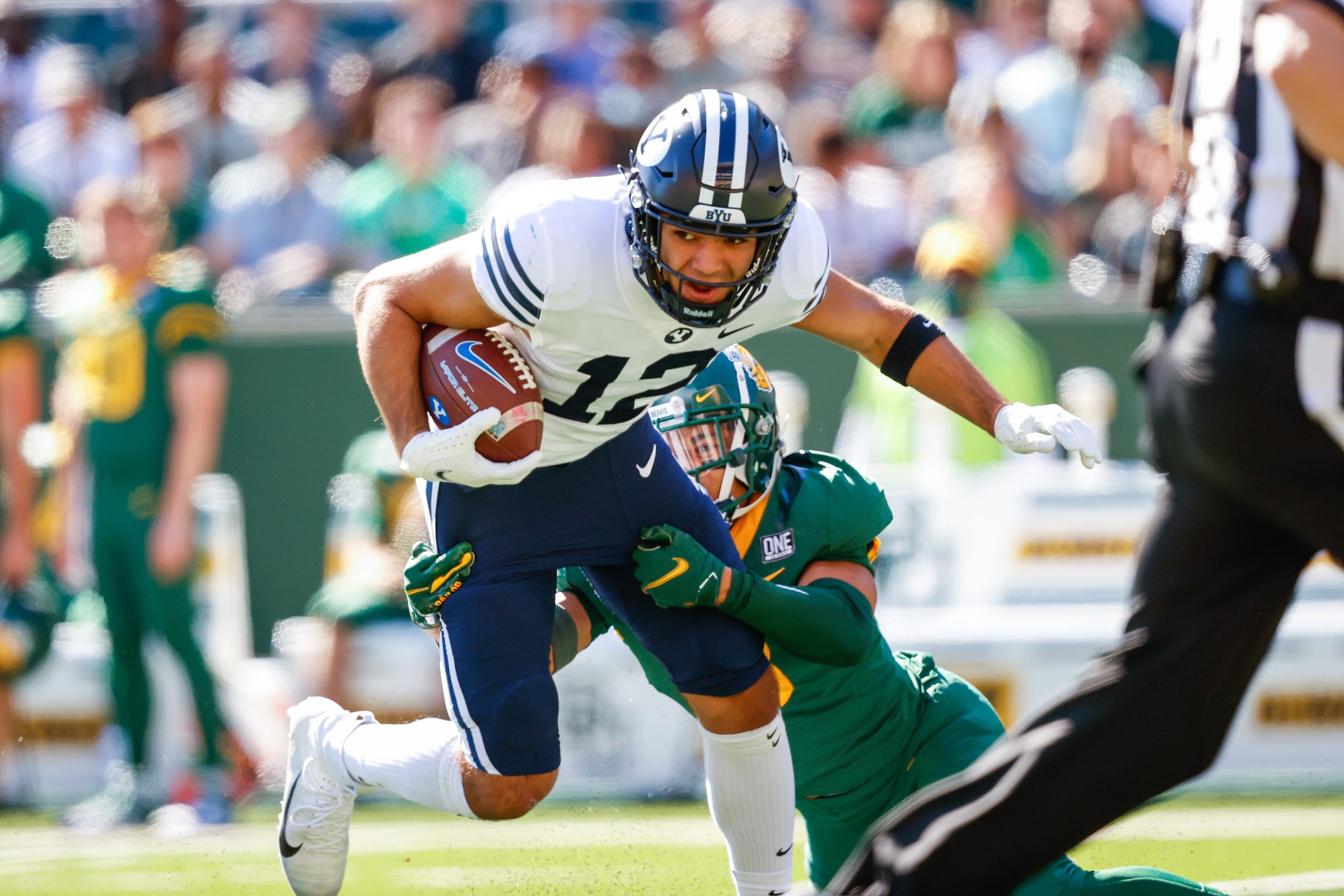 BYU wide receiver Puka Nacua runs after making a catch during the Cougars' road game against Baylor.