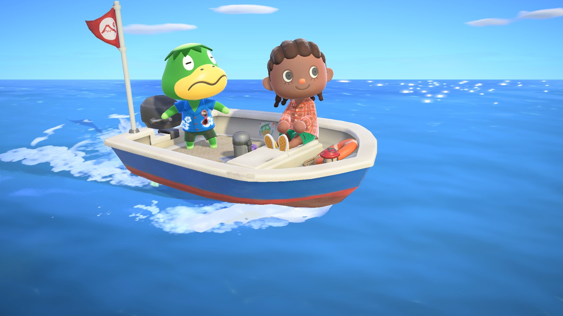 Animal Crossing: New Horizons Kapp'n on his boat with an animal crossing player