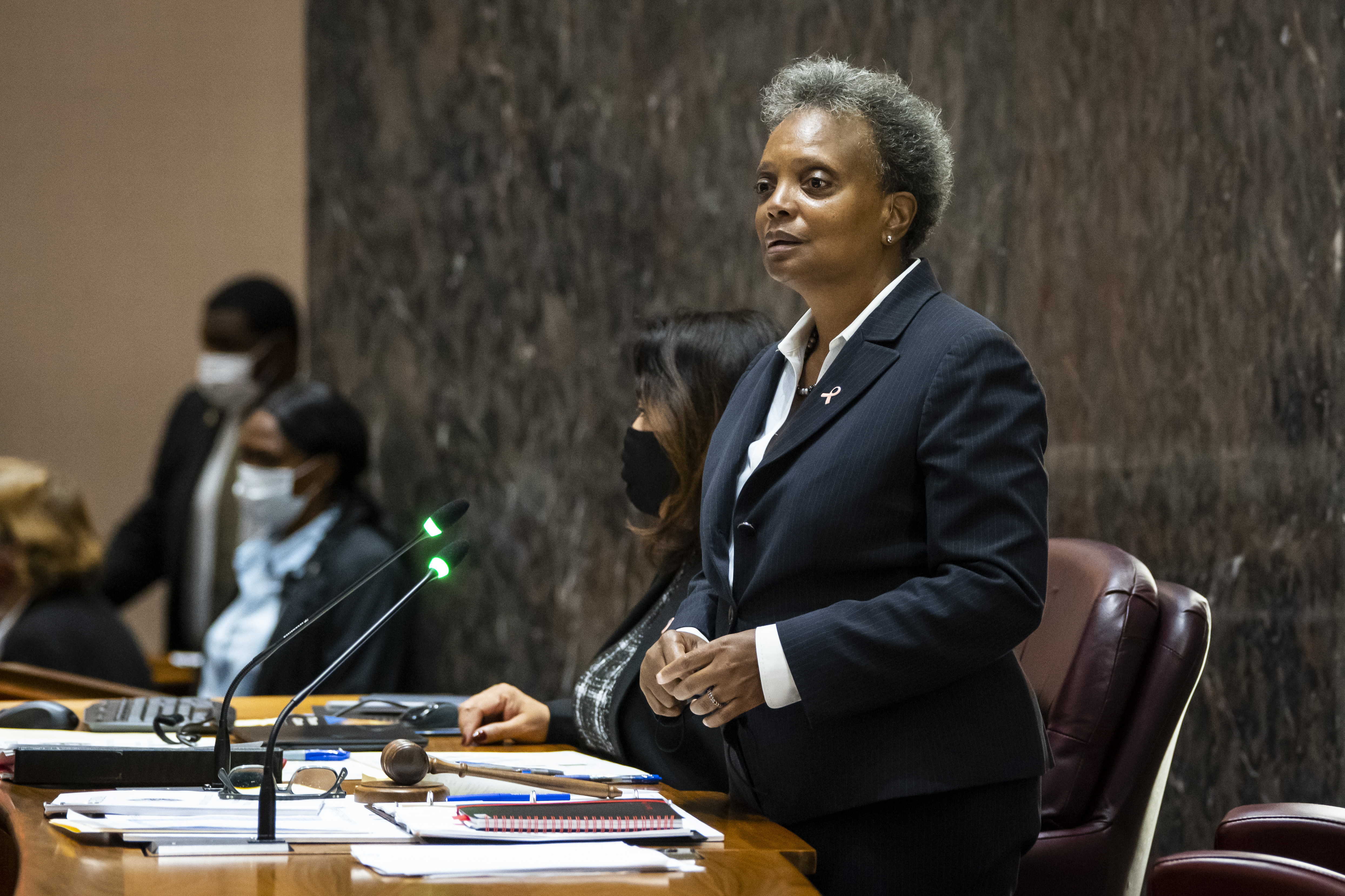 Mayor Lori Lightfoot presides over a Chicago City Council meeting last week.