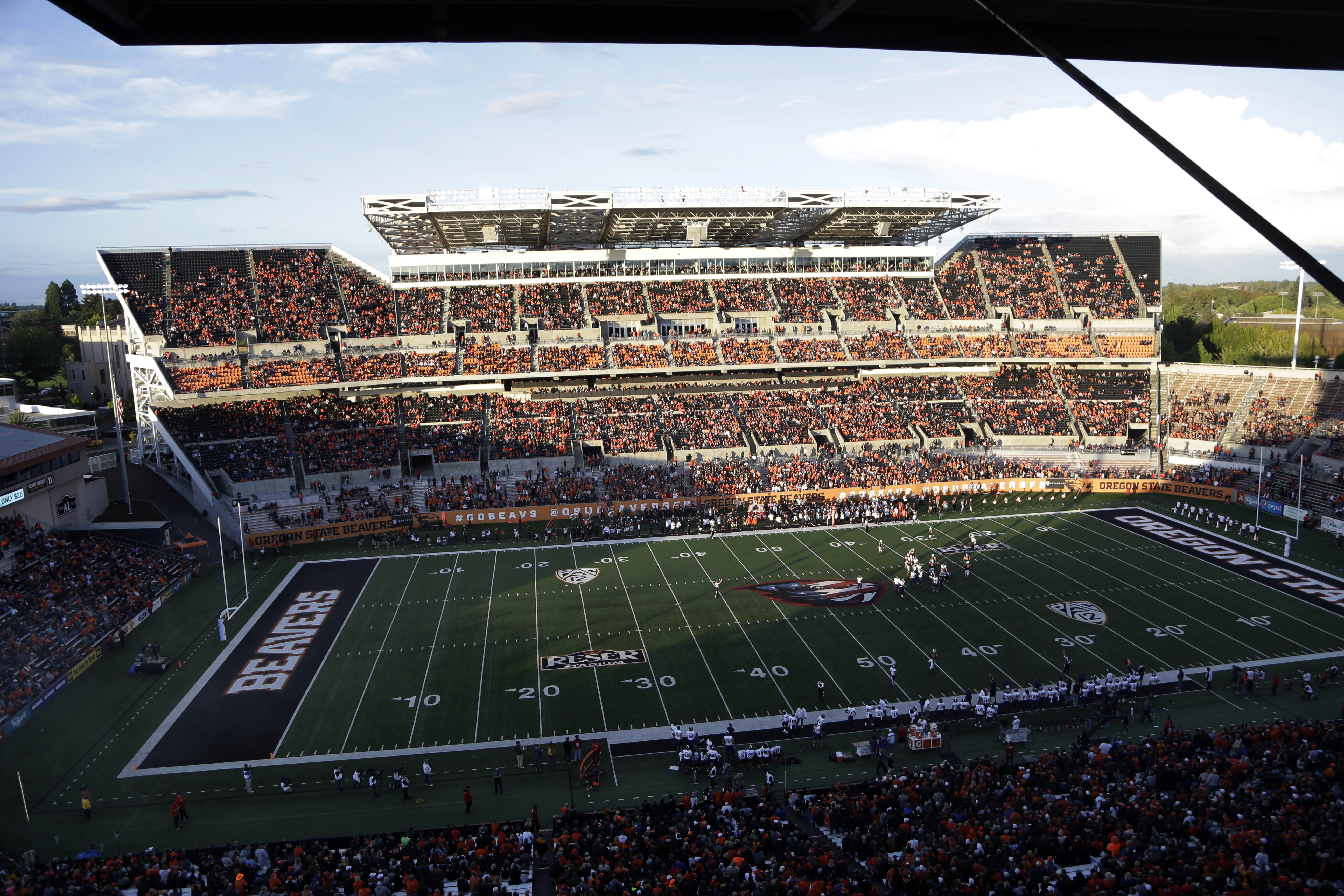 View of Reser Stadium is shown