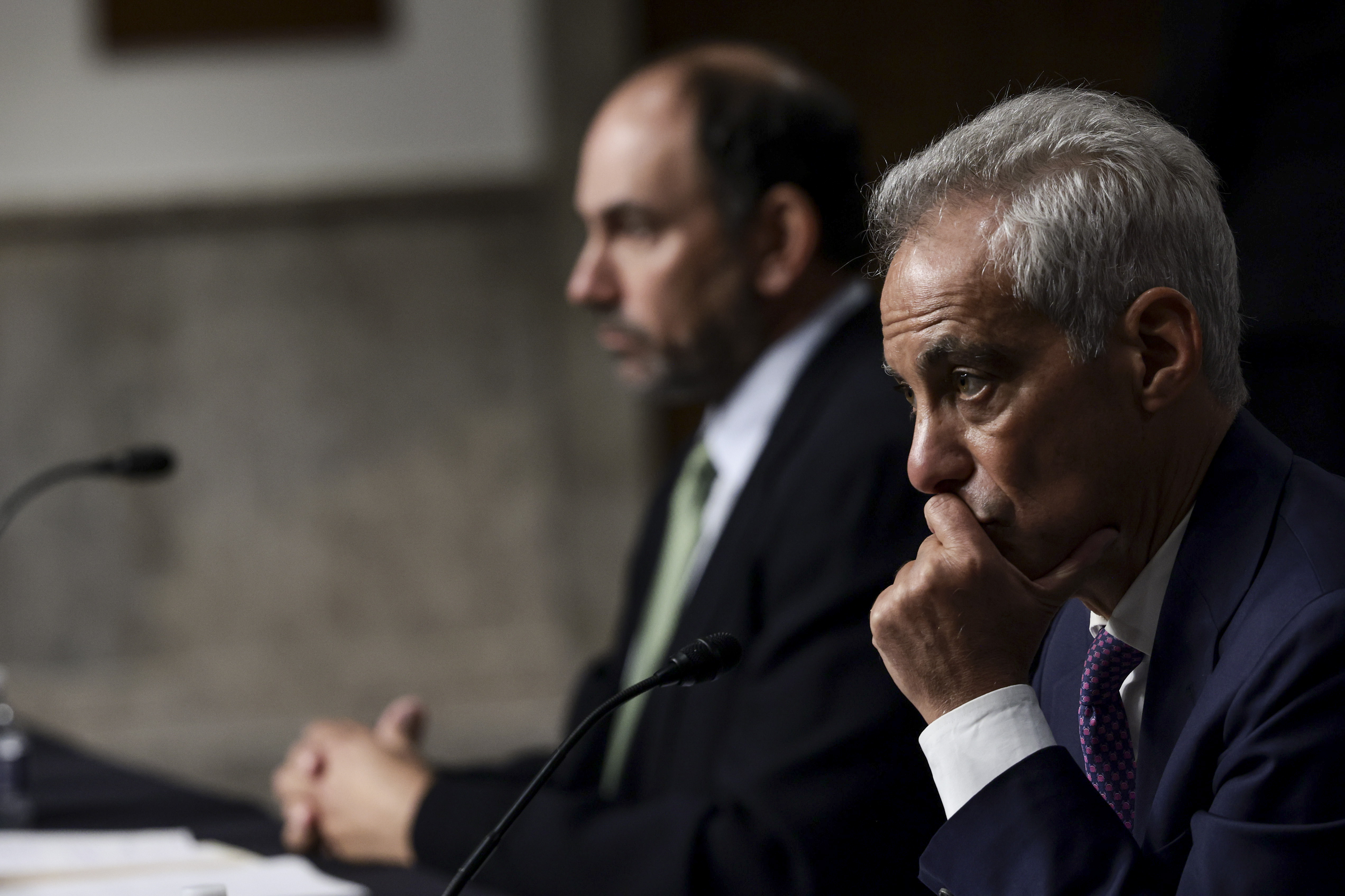 Rahm Emanuel, former Mayor of Chicago and former chief of staff in the Obama White House, listens during a confirmation hearing before Senate Foreign Relations Committee at Dirksen Senate Office Building on Capitol Hill October 20, 2021 in Washington, DC.