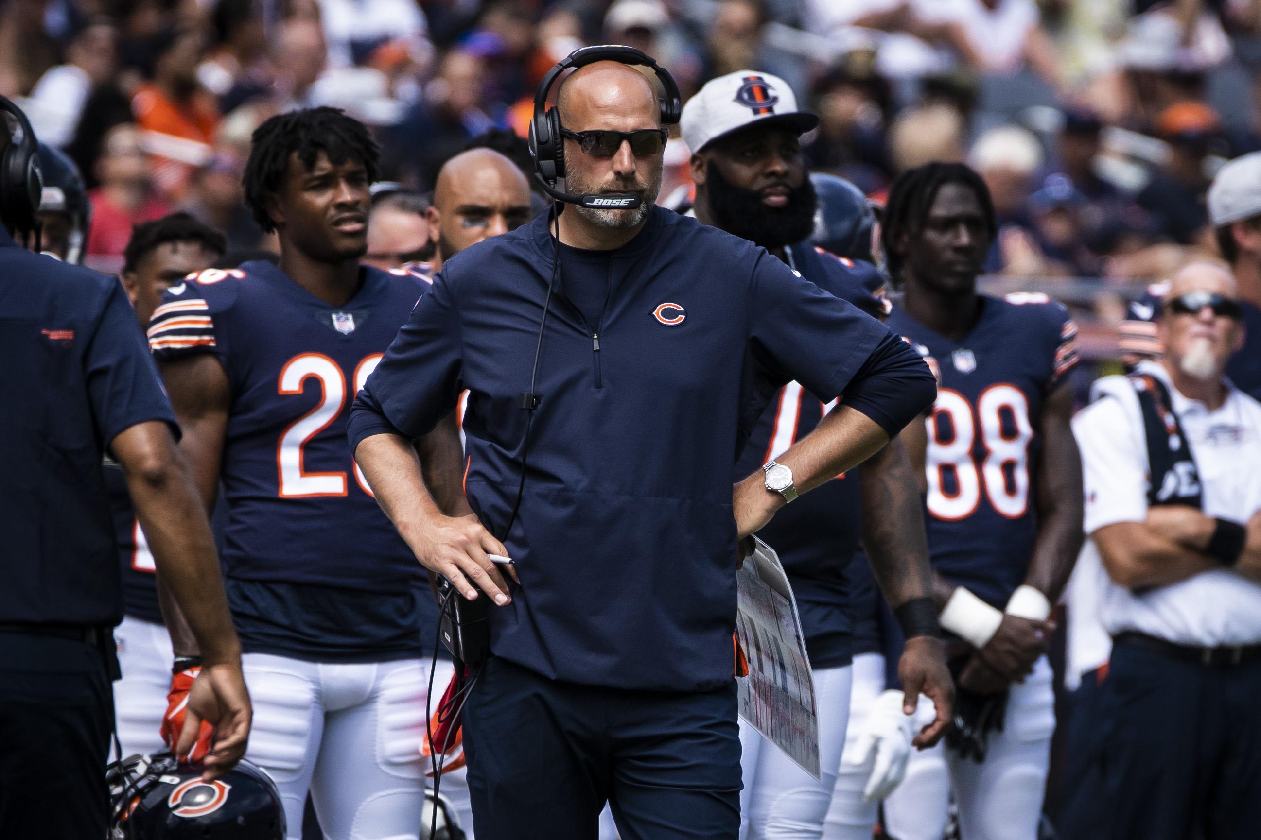 Matt Nagy (center) is 31-23 in three-plus seasons as the Bears' head coach.