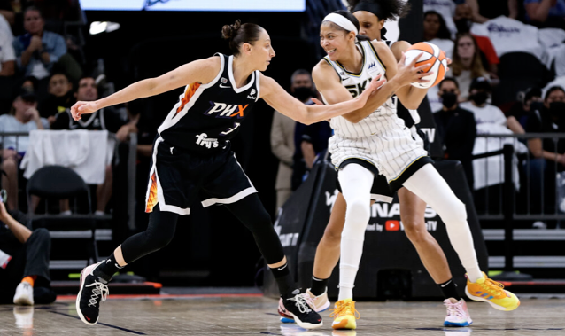 Diana Taurasi, fouling Candace Parker during Game 1, broke a door in Wintrust Arena's visiting locker room after the Mercury's loss in Game 4.