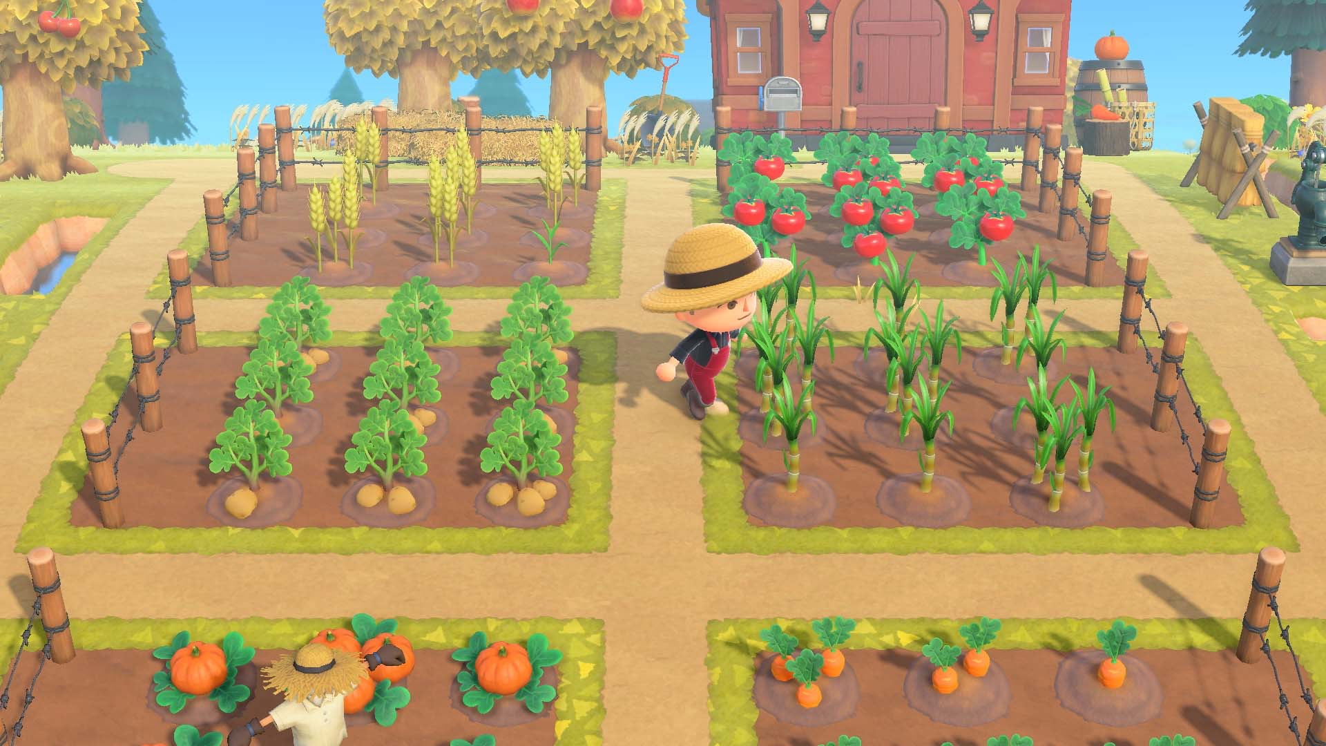 a character with a hat running through a garden