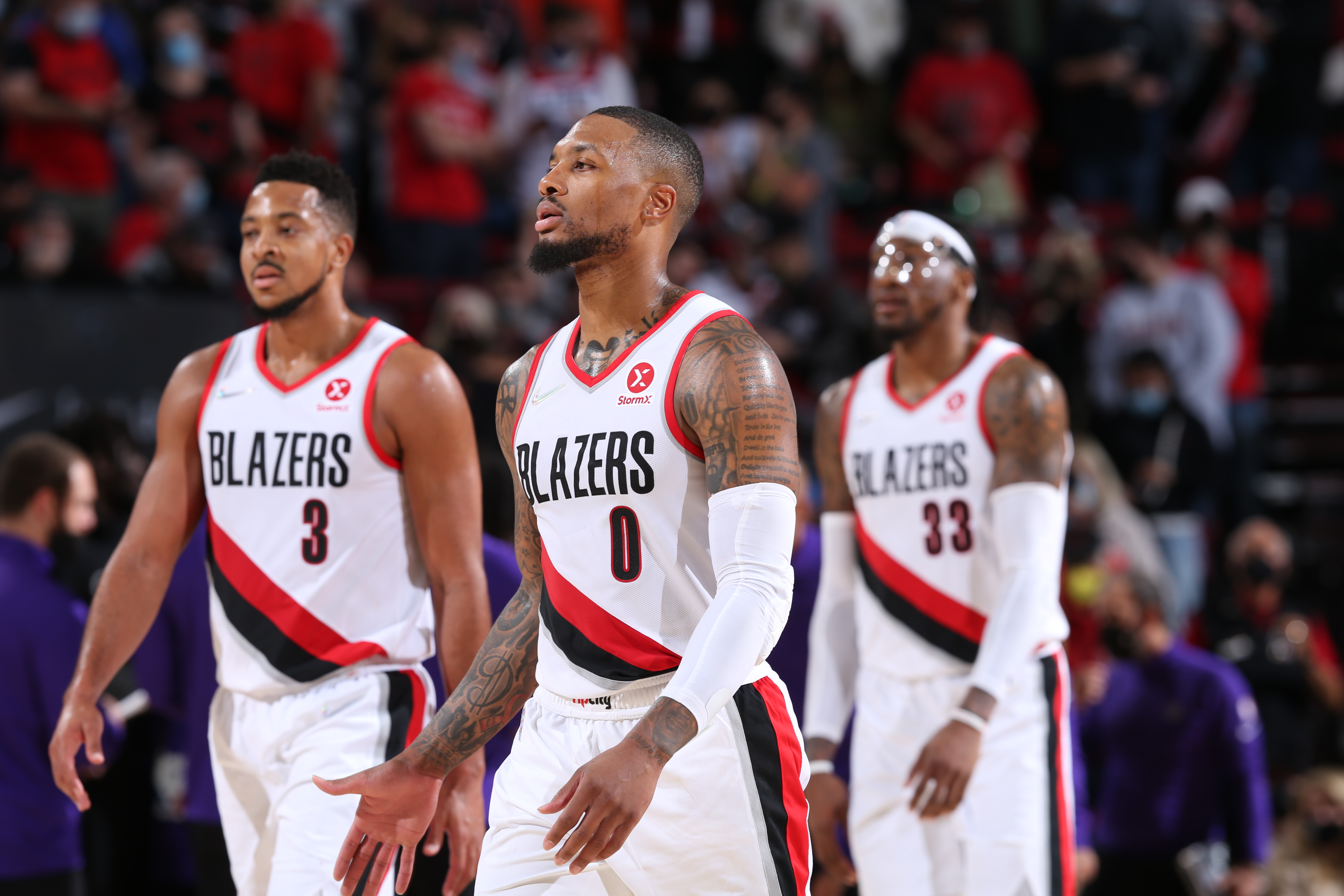 Damian Lillard #0 of the Portland Trail Blazers looks on during the game against the Sacramento Kings on October 20, 2021 at the Moda Center Arena in Portland, Oregon.