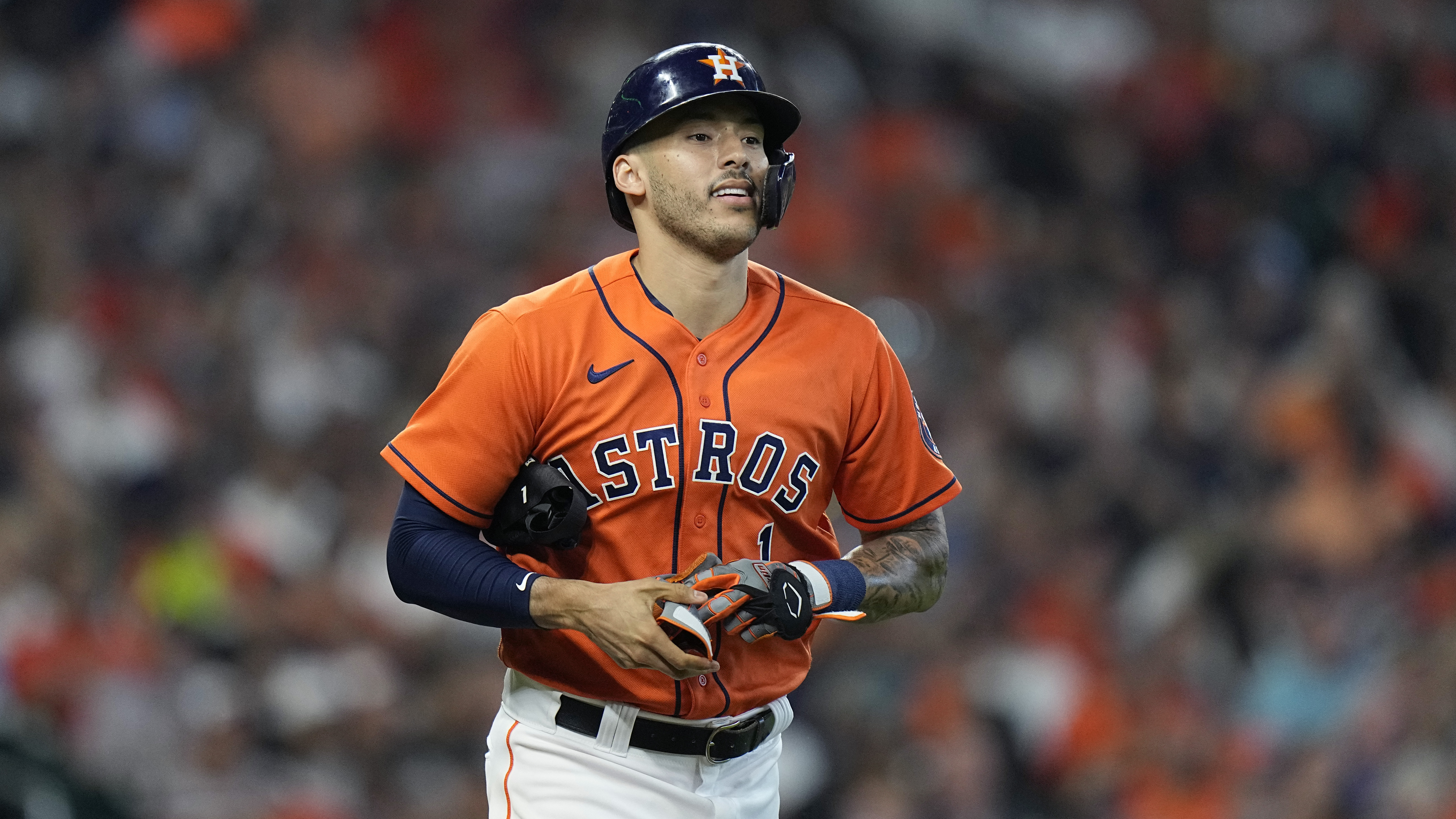 Houston Astros shortstop Carlos Correa (1) during the second inning in Game 2 of a baseball American League Division Series against the Chicago White Sox Friday, Oct. 8, 2021, in Houston. (AP Photo/David J. Phillip) ORG XMIT: NYOTK