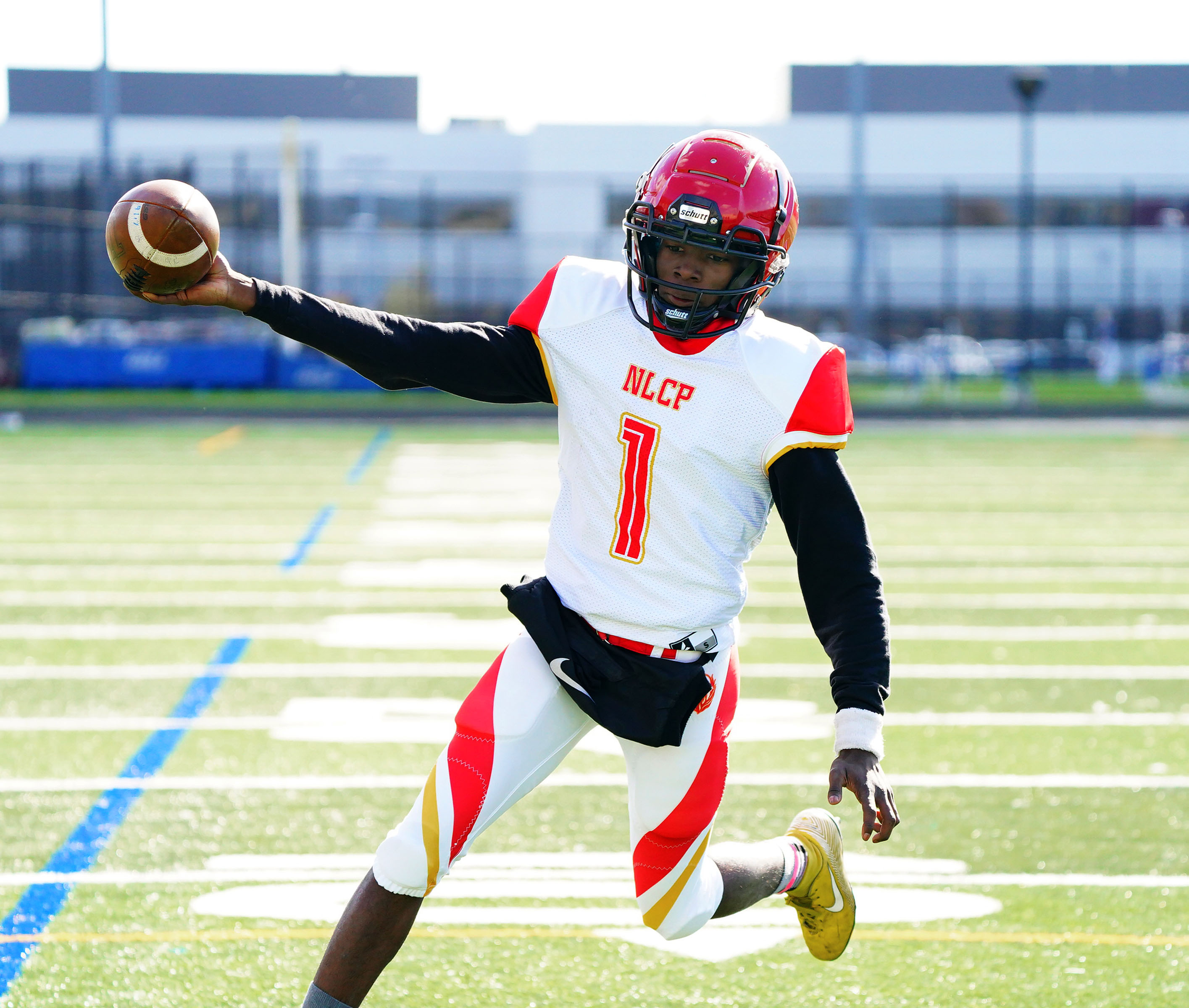 North Lawndale quarterback Earnest Rice (1) scores on a two point conversion against Prosser.