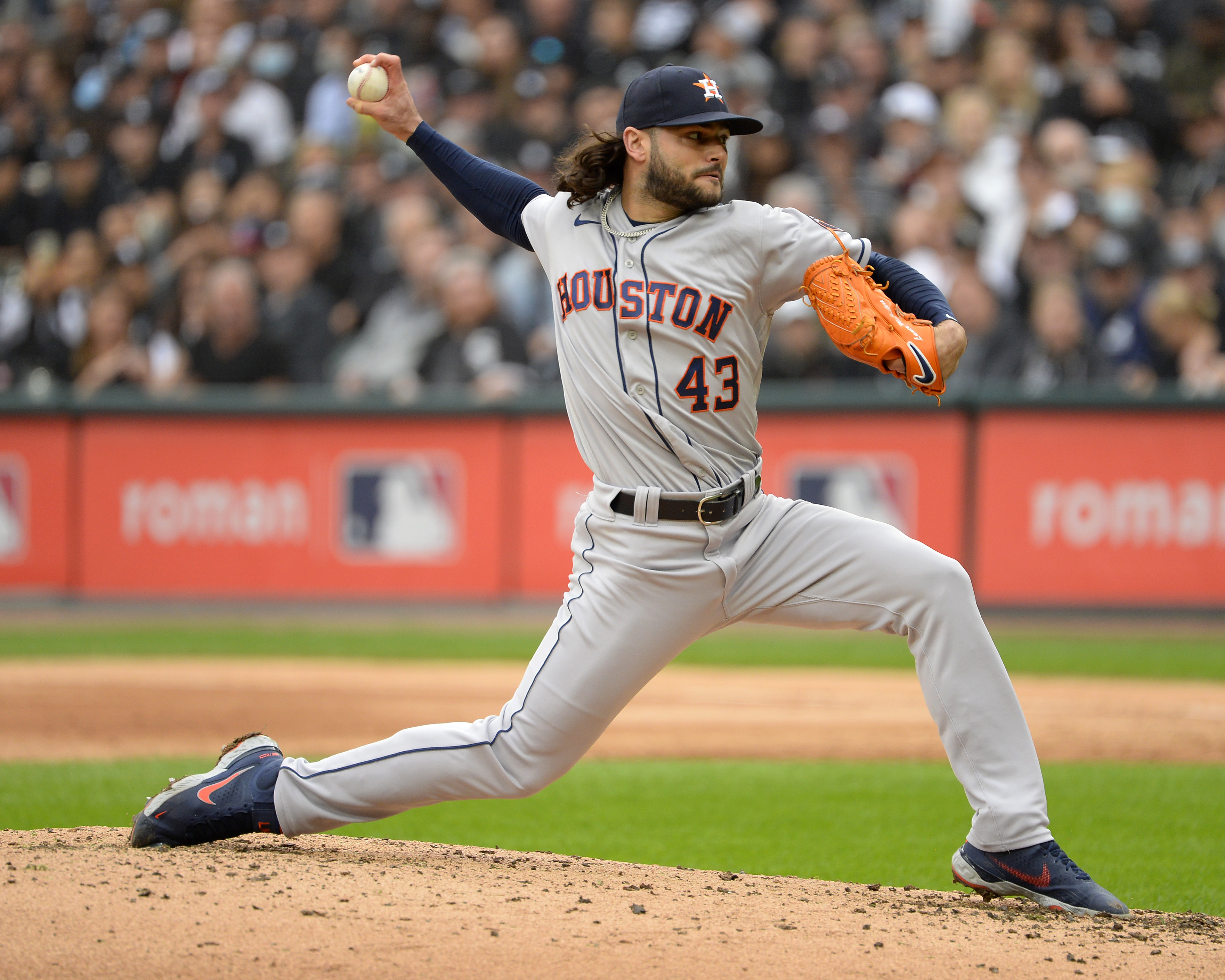 Lance McCullers Jr. #43 of the Houston Astros pitches during Game Four of the American League Division Series against the Chicago White Sox on October 12, 2021 at Guaranteed Rate Field in Chicago, Illinois.