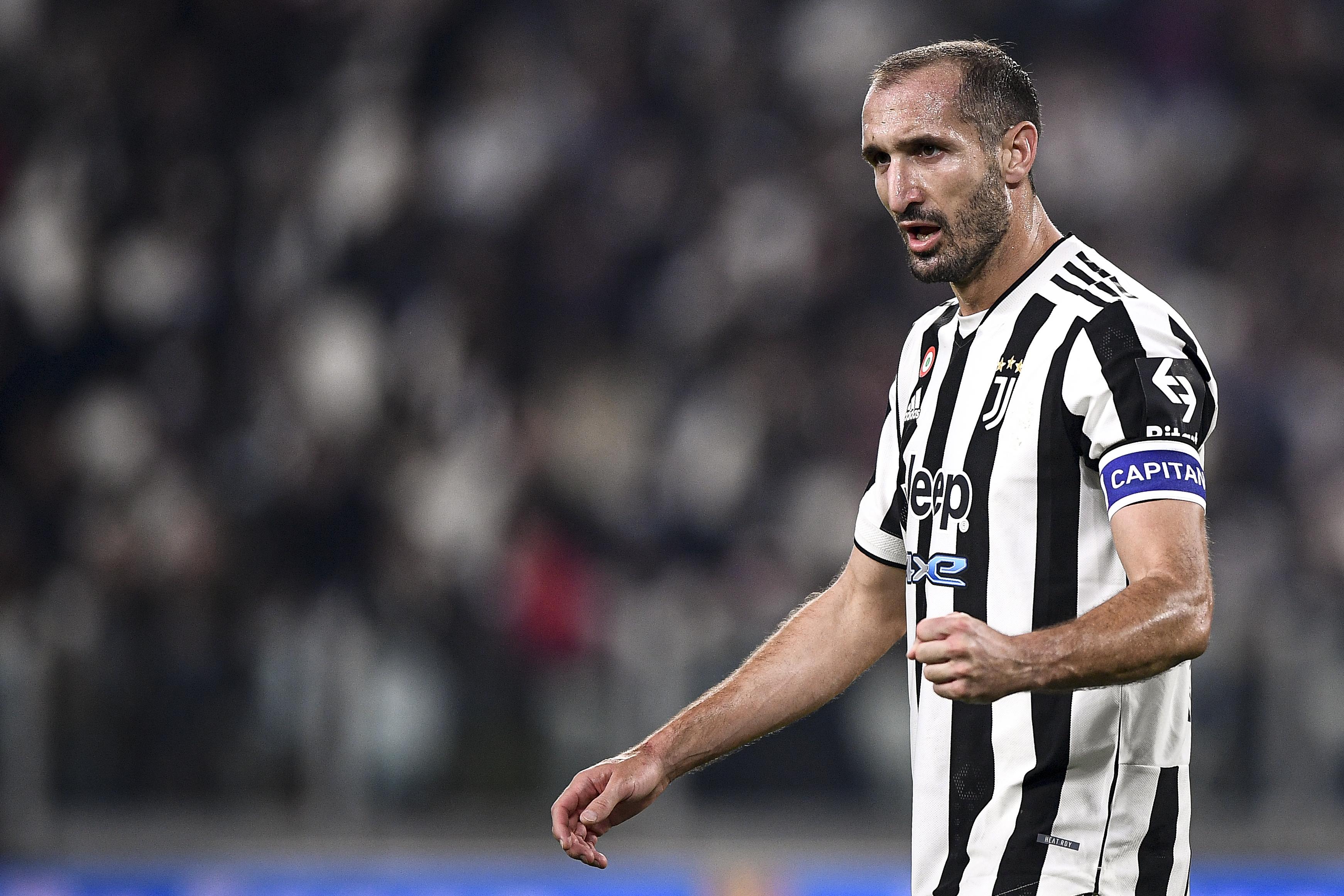 Giorgio Chiellini of Juventus FC gestures during the Serie A...