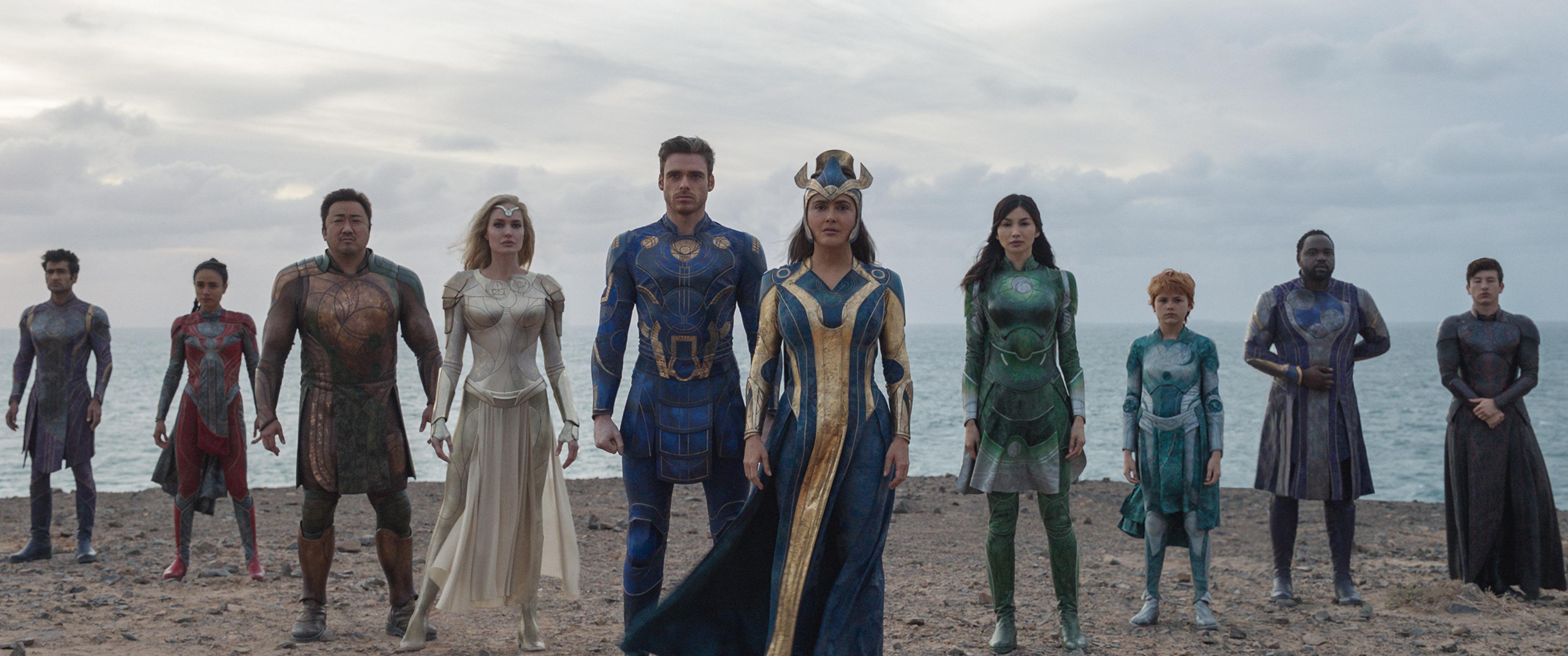 "Kingo, Makkari, Gilgamesh, Thena, Ikaris, Ajak, Sersi, Sprite, Phastos and Druig in Marvel Studios' ""Eternals."""