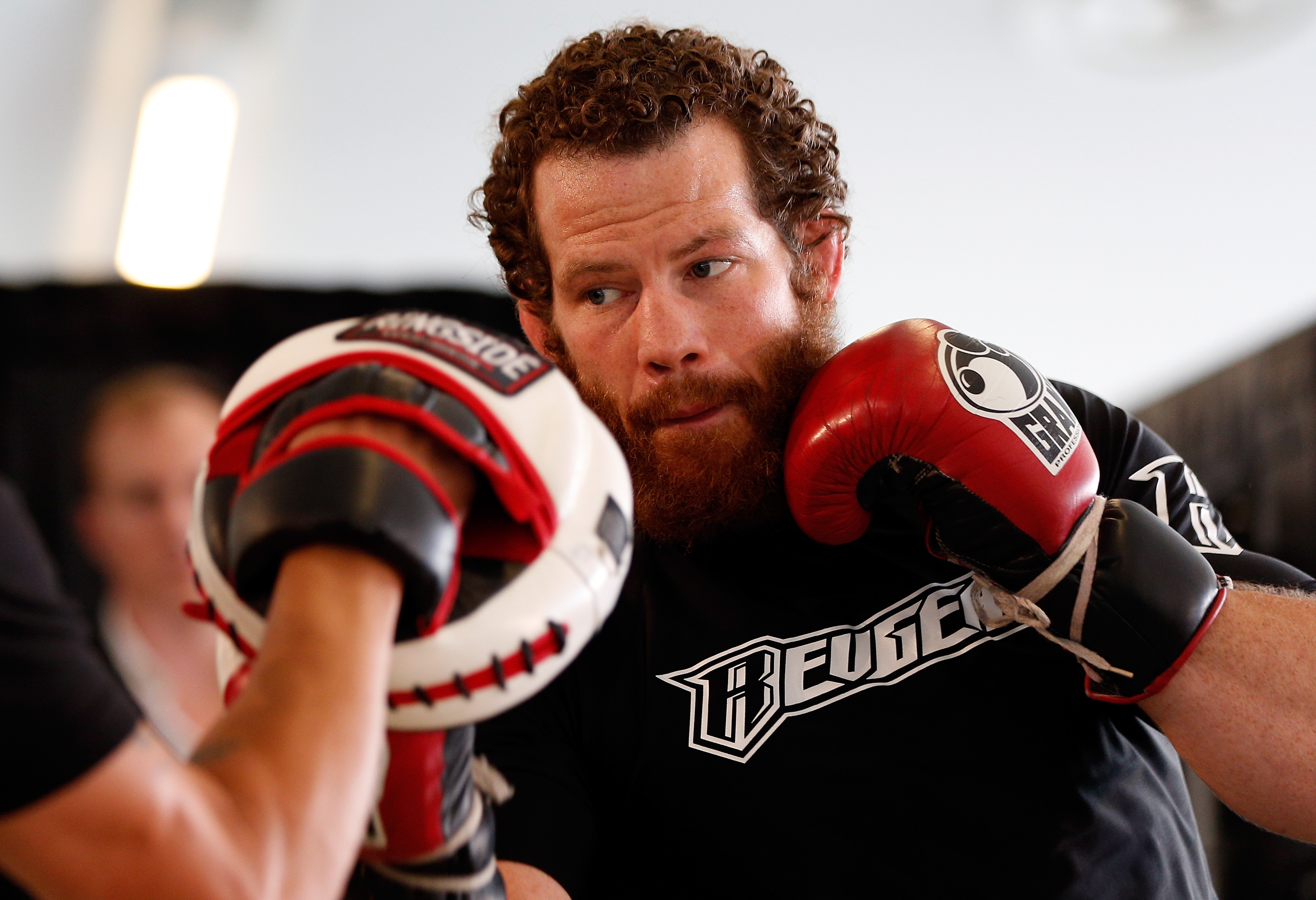 Nate Marquardt during open workouts for a UFC Fight Night event in 2014.