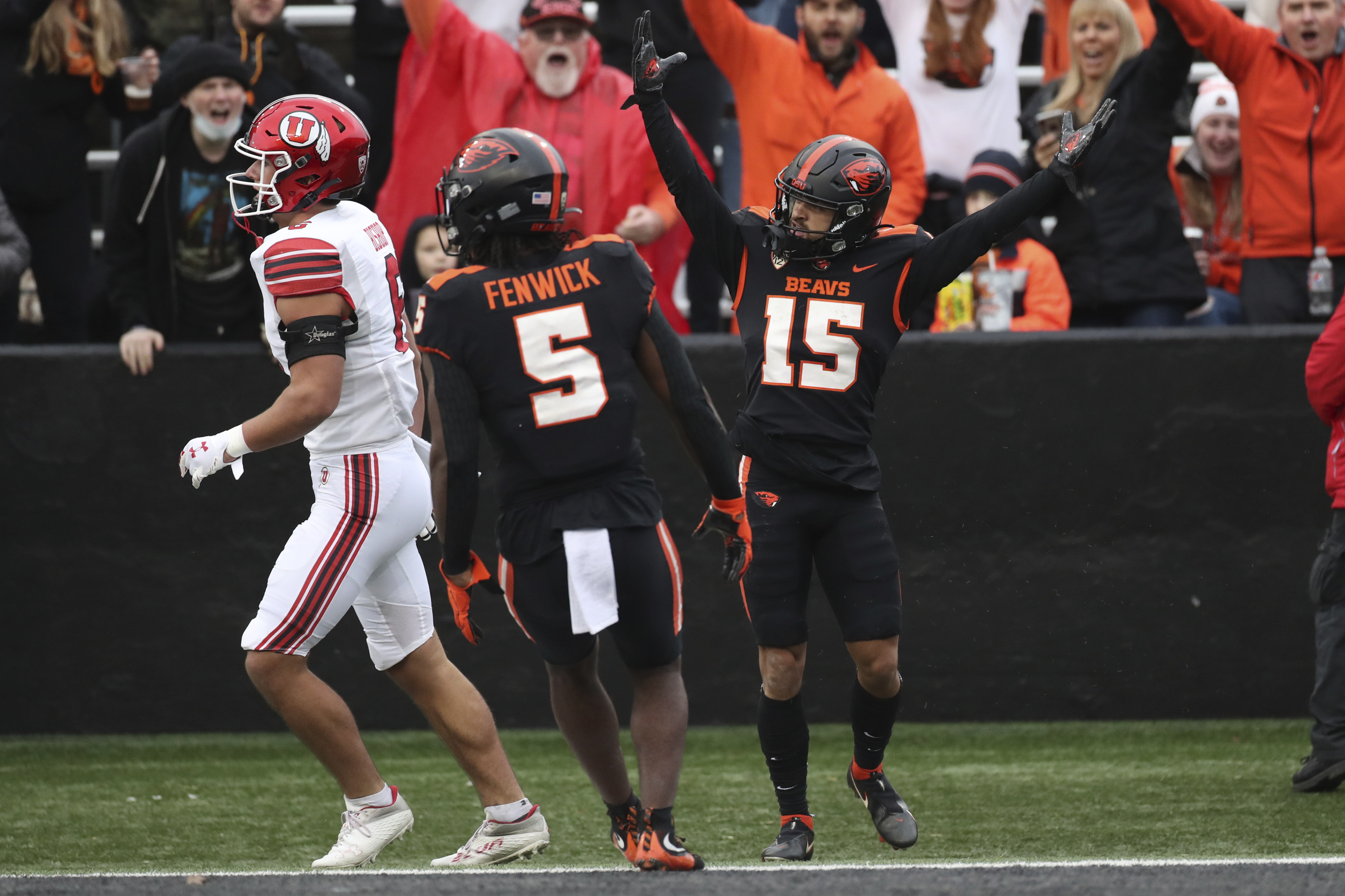Oregon State wide receiver Anthony Gould (15) celebrates after scoring a touchdown against Utah.