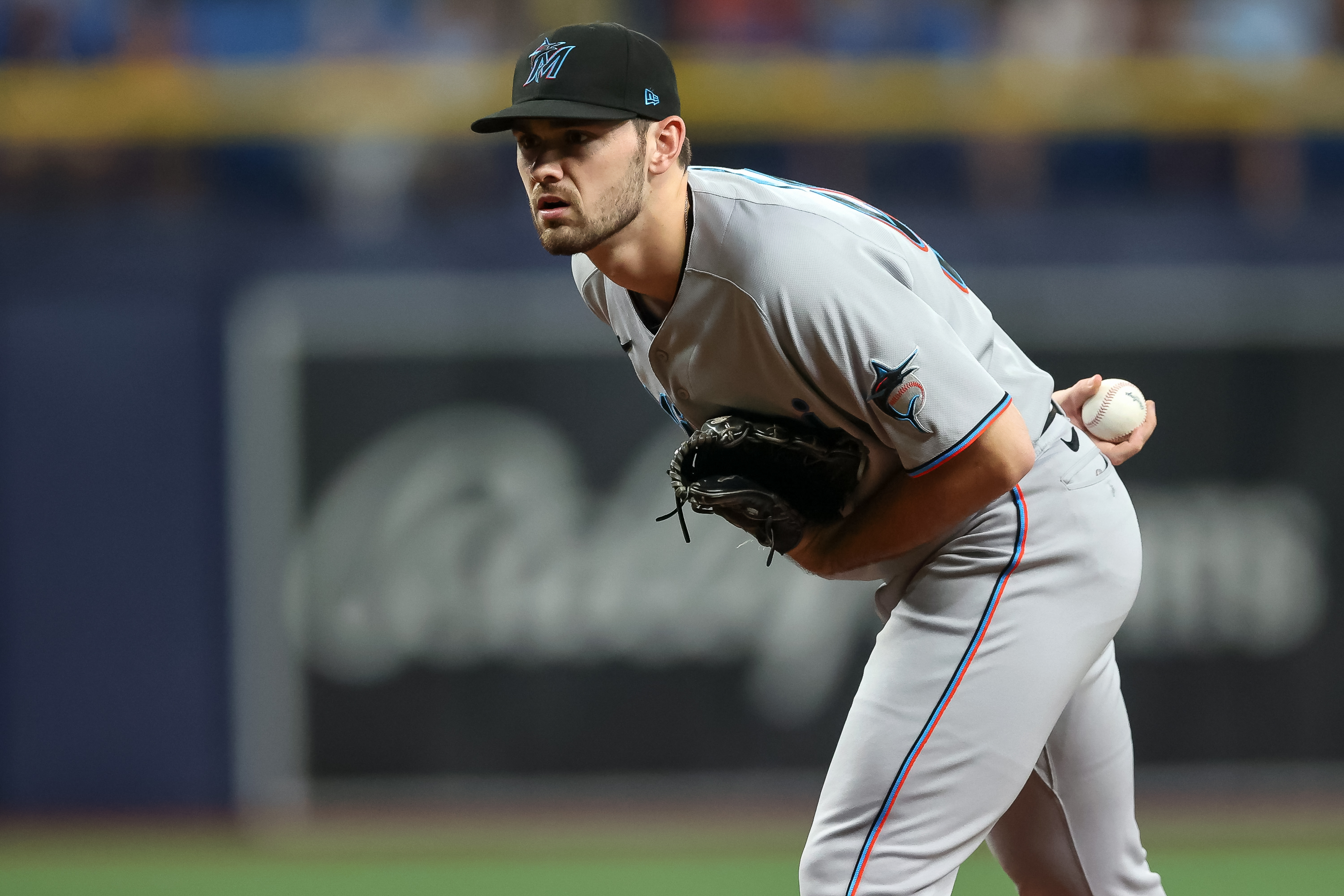 Zach Pop #56 of the Miami Marlins throws against the Tampa Bay Rays in the seventh inning of a baseball game at Tropicana Field