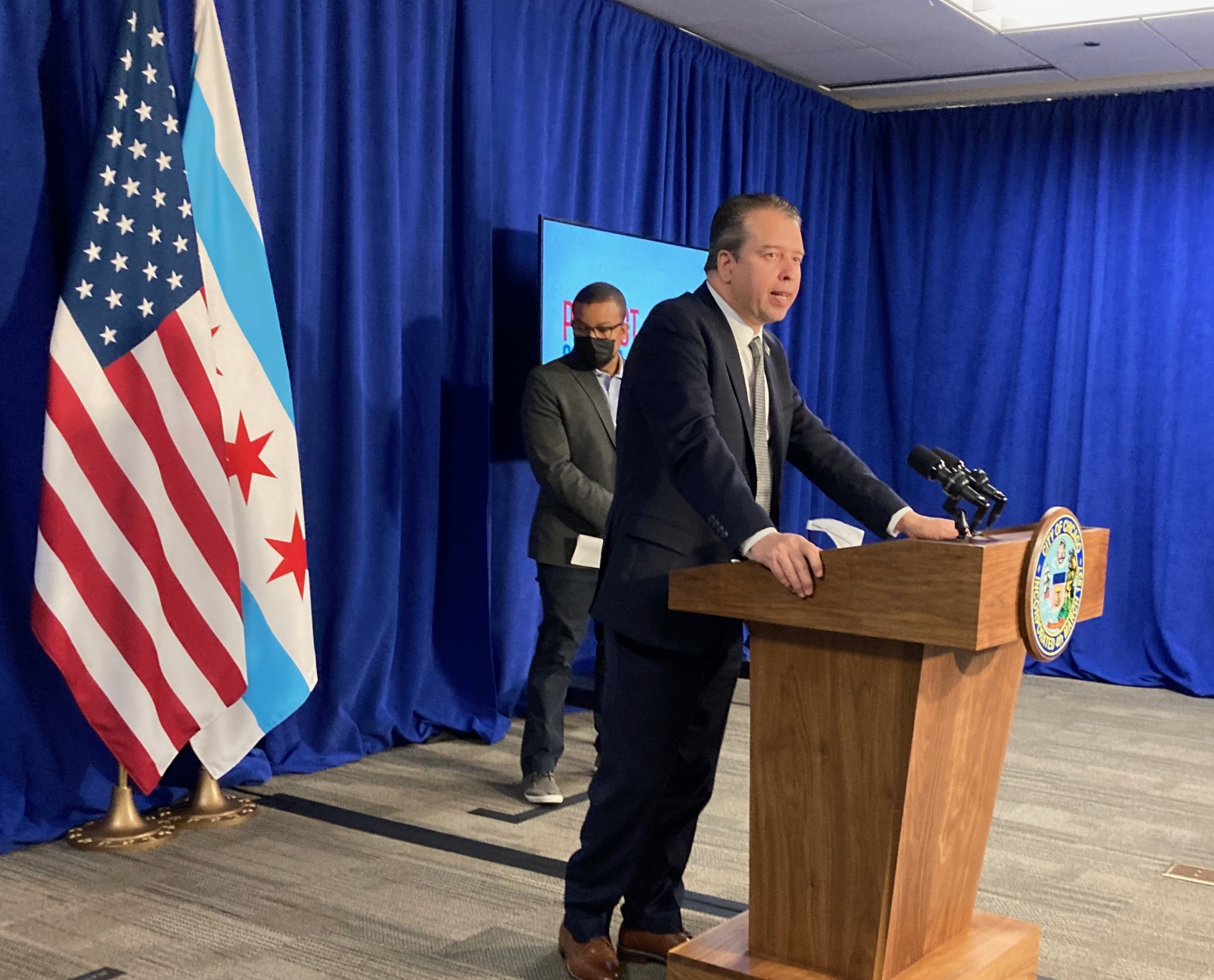Speaking from a podium inside City Hall, Chicago schools chief Pedro Martinez promises more transparency about COVID-19 data on his second day on the job.
