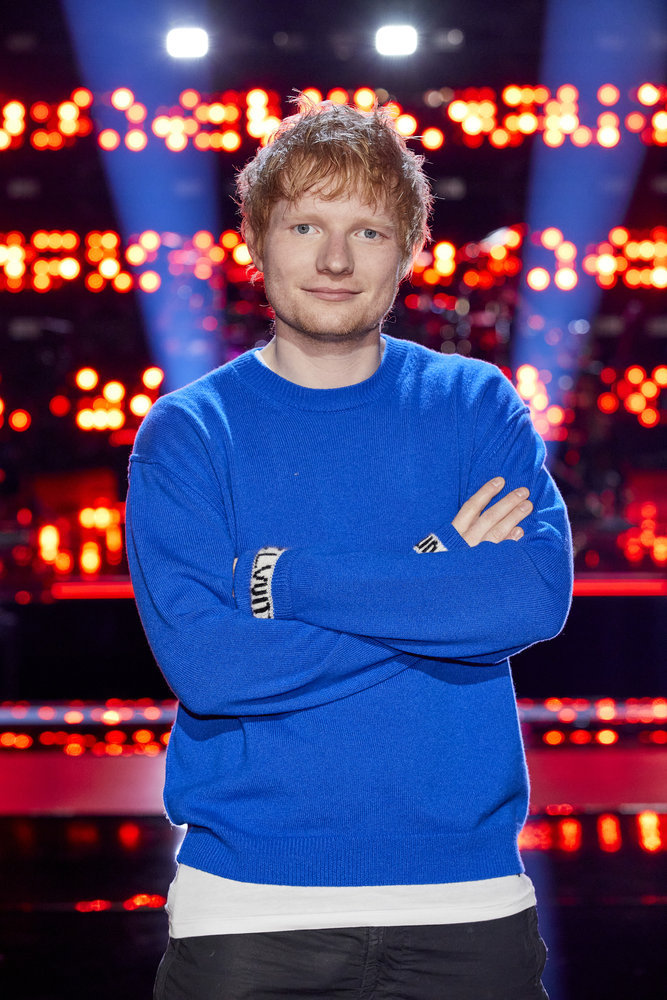 """Ed Sheeran is pictured on the set of """"The Voice,"""" where he is a mentor for the Knockout round."""