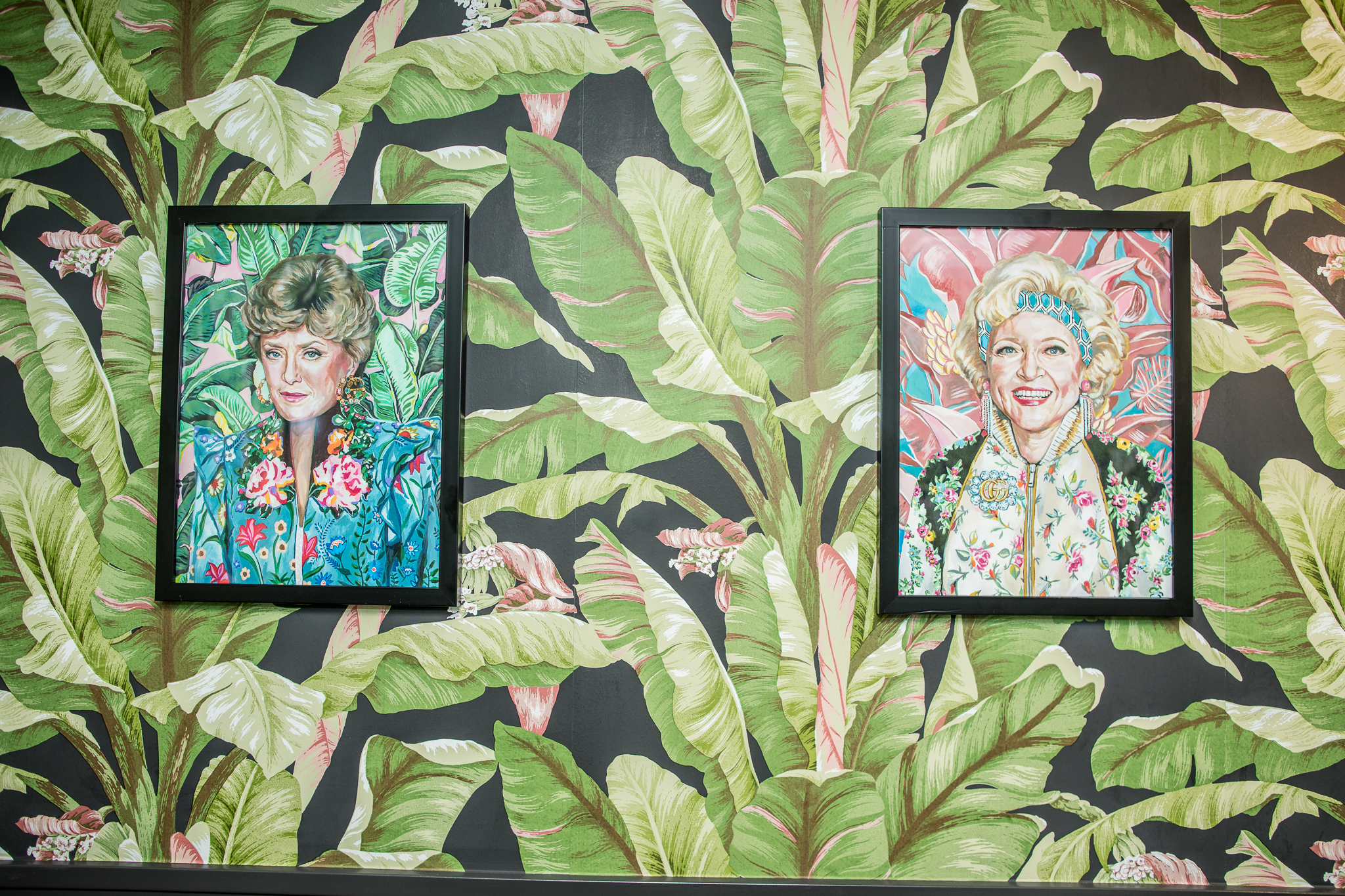 Colorful portraits of Blanche and Rose from the Golden Girls.