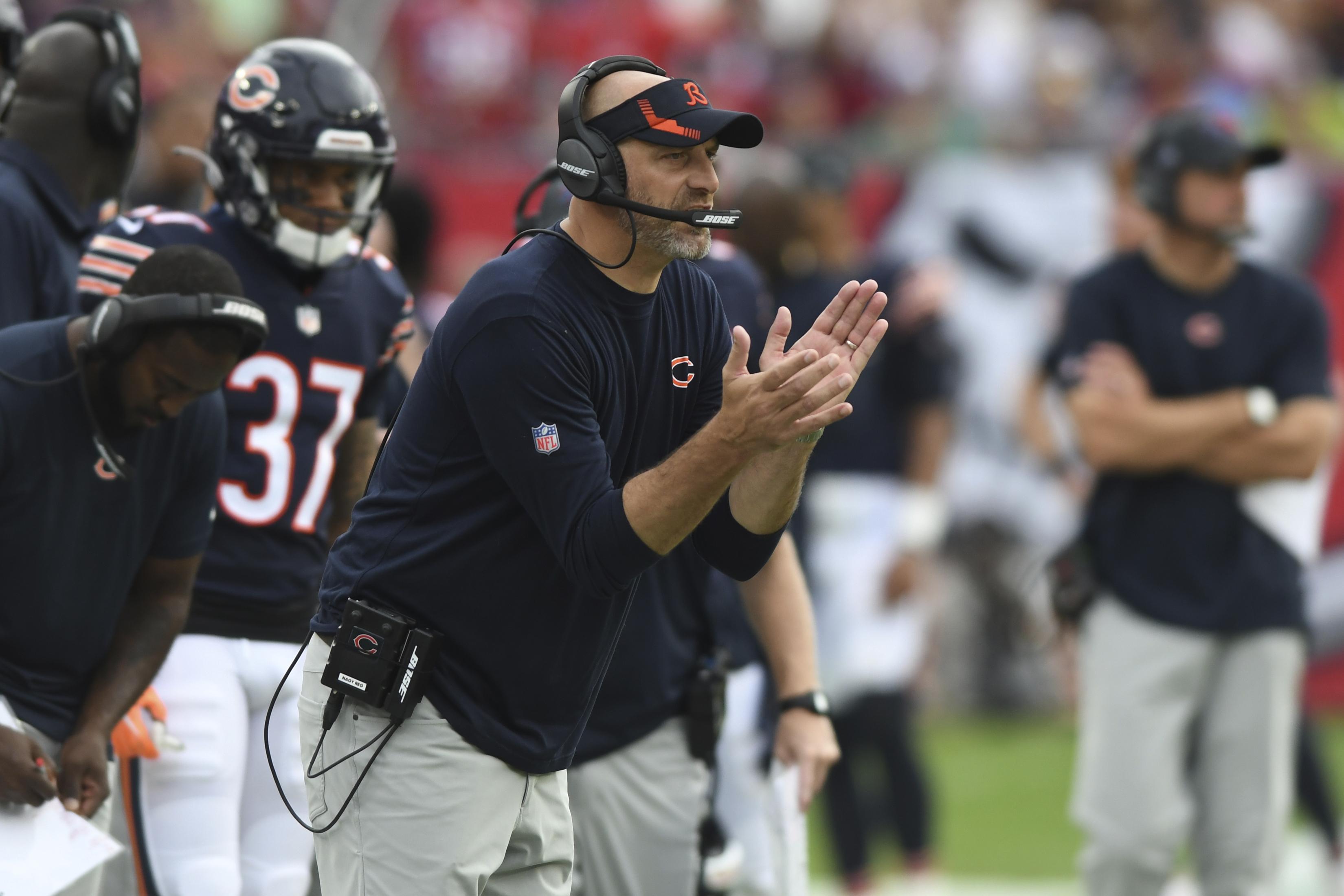 Bears coach Matt Nagy exhorts his team Sunday against the Buccaneers. The Bears lost 38-3 at Raymond James Stadium in Tampa, Fla.