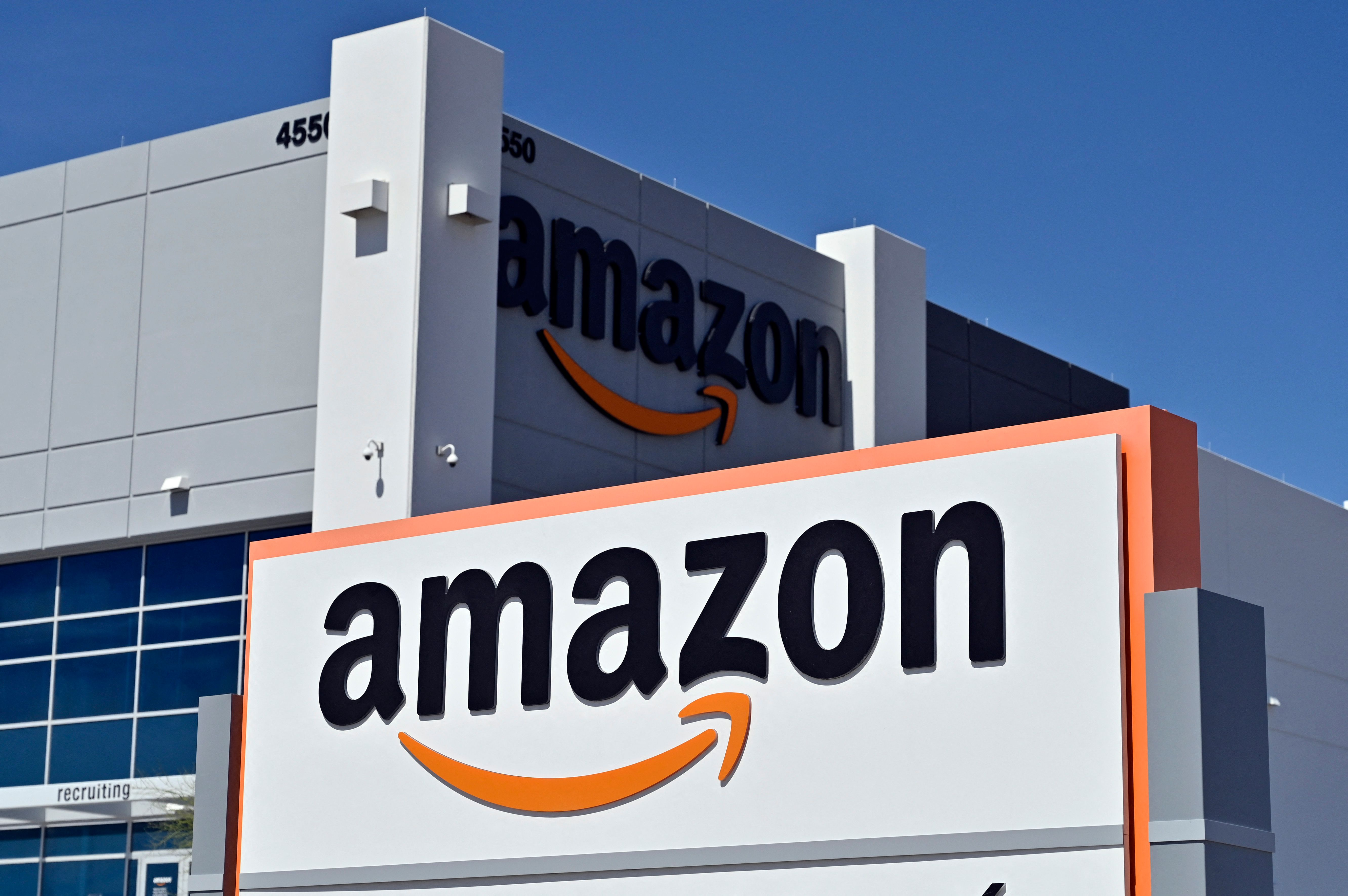 In this file photo an Amazon distribution center is seen on April 25, 2020 in North Las Vegas, Nevada.