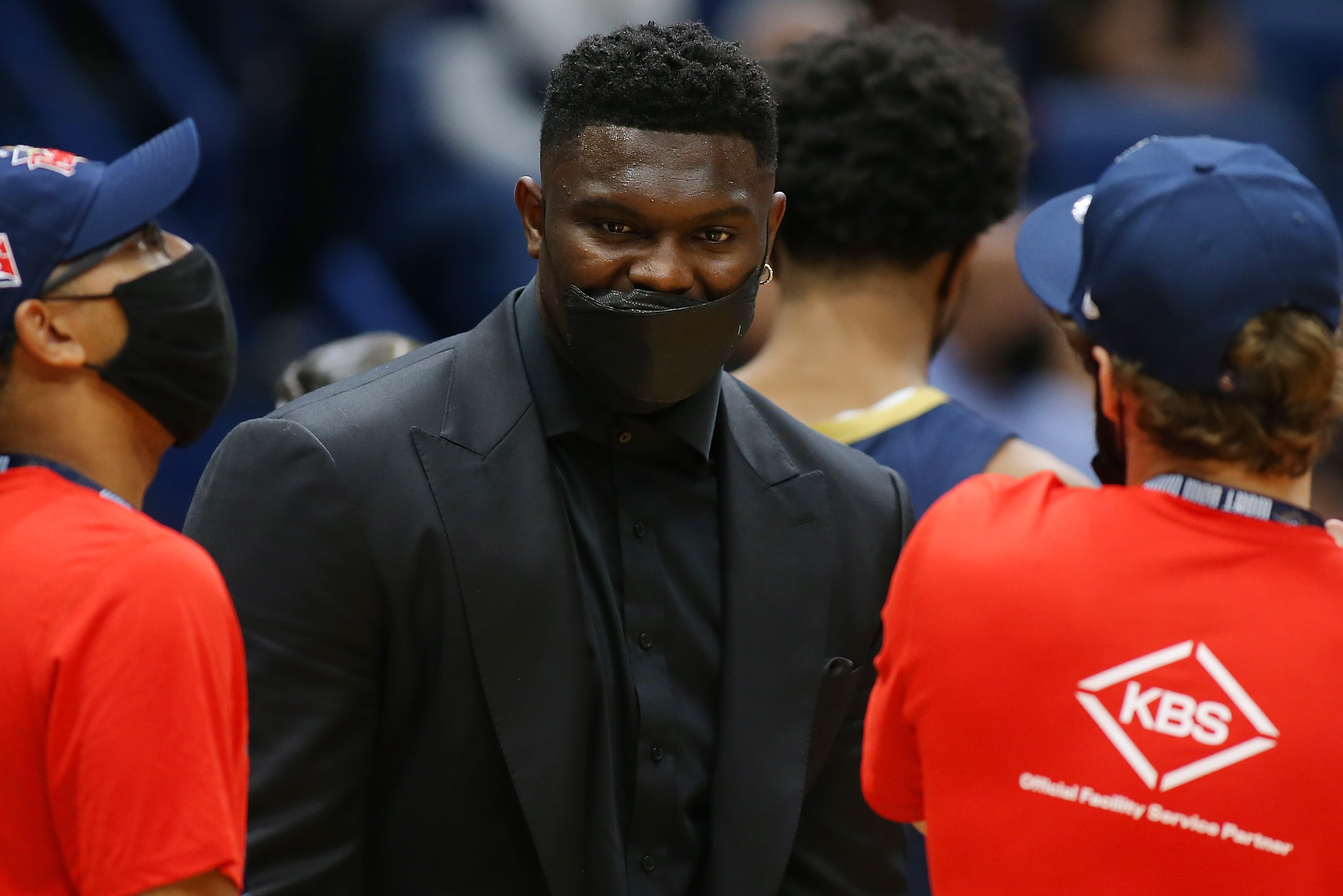 Zion Williamson #1 of the New Orleans Pelicans reacts during the second half against the Philadelphia 76ers at the Smoothie King Center on October 20, 2021 in New Orleans, Louisiana.