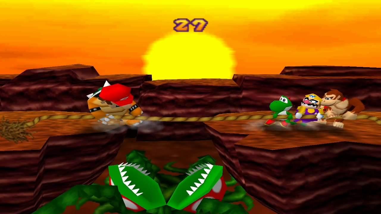 screen of 1998's Mario Party showing four Mushroom Kingdom characters (Mario, vs. Yoshi, Wario, and Donkey Kong) in a tug-of-war
